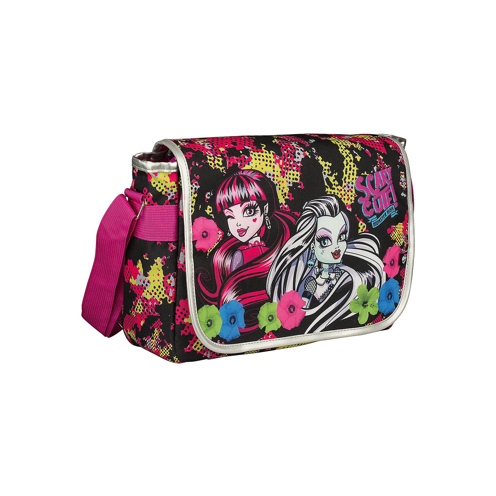 Сумка, Monster HighШкольные сумки<br>Сумка, Monster High - симпатичная стильная сумочка, которую удобно брать с собой как на школьные занятия, так и на прогулку. Сумка выполнена в черно-розовой расцветке и украшена изображением очаровательных героинь из популярного мультсериала Школа монстров. Внутри<br>одно просторное отделение с карманом на молнии, которое закрывается сверху откидным клапаном на липучке. Для ношения через плечо предусмотрена удобная регулируемая лямка. <br><br><br>Дополнительная информация:<br><br>- Материал: полиэстер.<br>- Размер: 24 х 33 х 12 см.<br>- Вес: 0,4 кг.<br><br>Сумку, Monster High, можно купить в нашем интернет-магазине.<br><br>Ширина мм: 240<br>Глубина мм: 330<br>Высота мм: 120<br>Вес г: 400<br>Возраст от месяцев: 120<br>Возраст до месяцев: 144<br>Пол: Женский<br>Возраст: Детский<br>SKU: 4681173