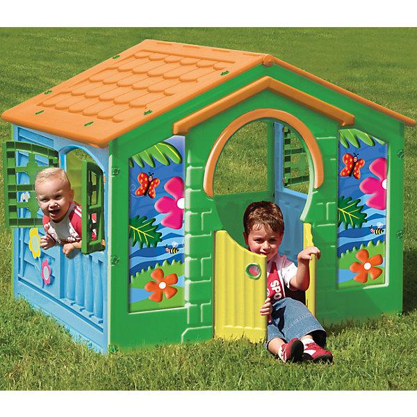 Деревенский домик, Pal PlayДомики и мебель<br>Деревенский домик – уникальная игрушка. В нем ребенок становится хозяином собственного «сказочного мира». <br> В процессе игры малыш примеряет на себя различные социальные роли, тем самым происходит первичный процесс адаптации<br>Когда ребенок играет с друзьями, у него улучшается коммуникативный процесс, что также важно для будущей жизни.<br> Домик сделан из качественного пластика. Имеет красочный дизайн, имитирующий «реальный дом». Удобная конструкция позволяет легко собирать домик, а также без труда размещать его как в квартире, так и на природе. Домик под крышей, с отверстиями для окошек, разной формы и окошками с закрывающимися ставеньками. Открывающаяся дверца — вход в домик. Детский игровой домик — многофункциональный, компактный и безопасный — лучший и необходимый подарок Вашему малышу, как только он научился ходить! Домик легко собирается, детали соединяются и закрепляются специальными пластиковыми гайками, которые входят в комплект; после сборки домик обклеивается большими наклейками, распашные дверки открываются в любую сторону.<br><br>Дополнительная информация:<br><br>Размер домика: 130x111x115 см<br>Материал: морозоустойчивый и цветоустойчивый пластик<br><br>Деревенский домик, Pal Play можно купить в нашем магазине.<br>Ширина мм: 1300; Глубина мм: 1110; Высота мм: 1150; Вес г: 20000; Возраст от месяцев: 24; Возраст до месяцев: 84; Пол: Унисекс; Возраст: Детский; SKU: 4681578;