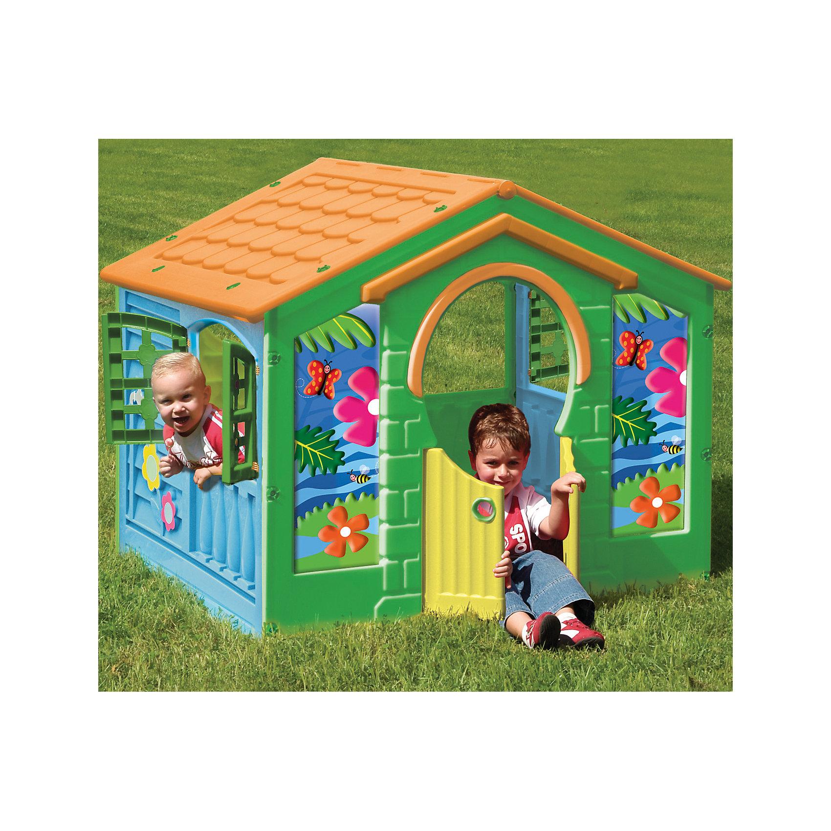 Деревенский домик, Pal PlayДомики и мебель<br>Деревенский домик – уникальная игрушка. В нем ребенок становится хозяином собственного «сказочного мира». <br> В процессе игры малыш примеряет на себя различные социальные роли, тем самым происходит первичный процесс адаптации<br>Когда ребенок играет с друзьями, у него улучшается коммуникативный процесс, что также важно для будущей жизни.<br> Домик сделан из качественного пластика. Имеет красочный дизайн, имитирующий «реальный дом». Удобная конструкция позволяет легко собирать домик, а также без труда размещать его как в квартире, так и на природе. Домик под крышей, с отверстиями для окошек, разной формы и окошками с закрывающимися ставеньками. Открывающаяся дверца — вход в домик. Детский игровой домик — многофункциональный, компактный и безопасный — лучший и необходимый подарок Вашему малышу, как только он научился ходить! Домик легко собирается, детали соединяются и закрепляются специальными пластиковыми гайками, которые входят в комплект; после сборки домик обклеивается большими наклейками, распашные дверки открываются в любую сторону.<br><br>Дополнительная информация:<br><br>Размер домика: 130x111x115 см<br>Материал: морозоустойчивый и цветоустойчивый пластик<br><br>Деревенский домик, Pal Play можно купить в нашем магазине.<br><br>Ширина мм: 1300<br>Глубина мм: 1110<br>Высота мм: 1150<br>Вес г: 20000<br>Возраст от месяцев: 24<br>Возраст до месяцев: 84<br>Пол: Унисекс<br>Возраст: Детский<br>SKU: 4681578