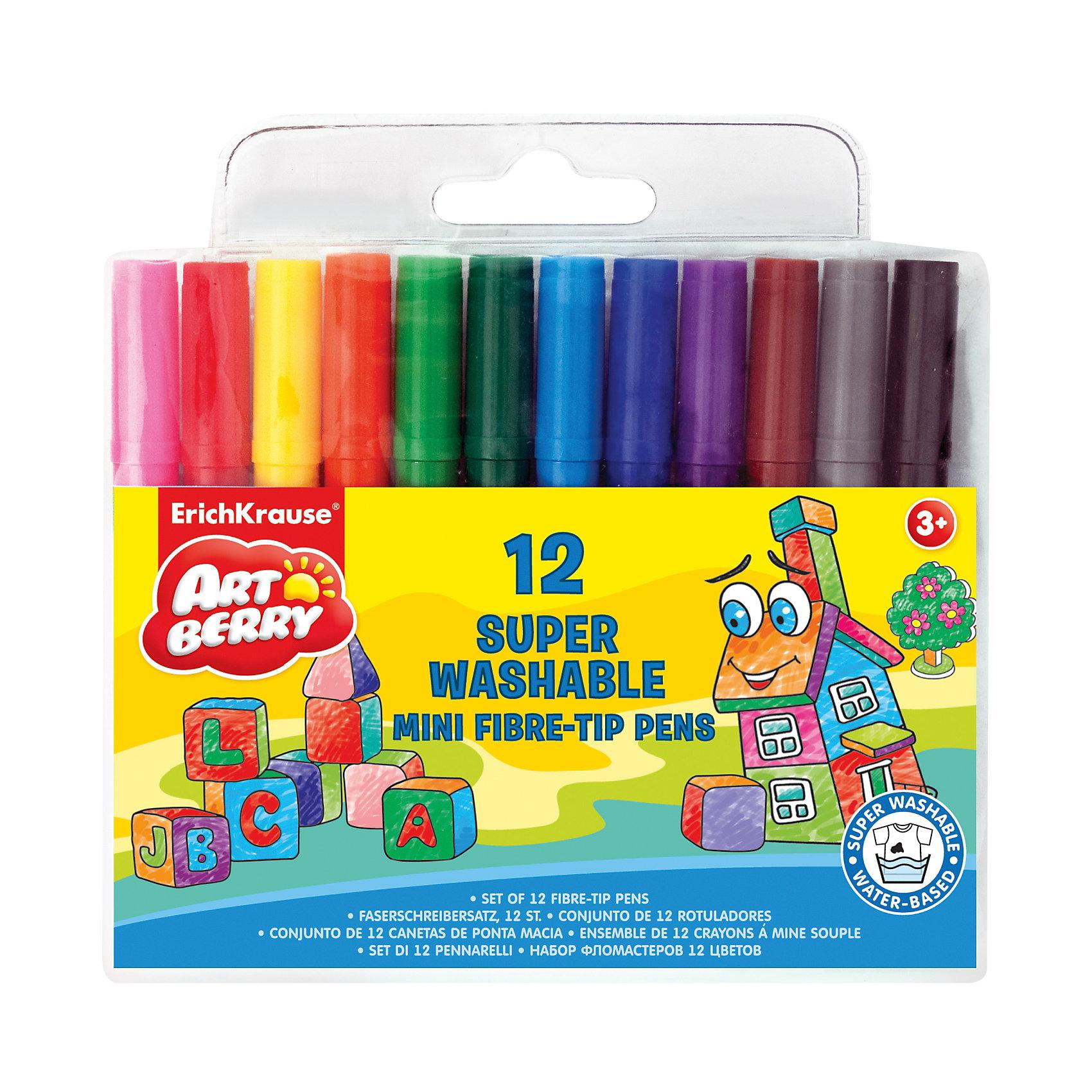 Мини-фломастеры, 12 цв.Рисование<br>Разве есть ребенок, который не любит рисовать яркими и удобными фломастерами? Мини-фломастеры Artberry разработаны специально для детей, осваивающих рисование. В наборе - 12 фломастеров разных цветов, здесь собраны основные оттенки, необходимые маленьким художникам. Рисование помогает детям развивать усидчивость, воображение, образное восприятие мира, а также мелкую моторику рук. <br>Фломастеры сделаны из безопасных для детей материалов (качественного пластика). Главное преимущество этих фломастеров: они отлично смываются водой с разных поверхностей. Укороченная форма помогает крепко держать их даже маленькой рукой. Удобная упаковка  поможет хранить фломастеры и не терять их. Вентилируемый колпачок обеспечит безопасное использование фломастеров.<br><br>Дополнительная информация:<br><br>комплектация: 12 шт;<br>удобная упаковка;<br>размер: 14 ? 1 ? 12 см;<br>длина непрерывной линии: 600 м;<br>яркие цвета;<br>смываются водой;<br>вентилируемый колпачок.<br><br>Мини-фломастеры, 12 цв. можно купить в нашем магазине.<br><br>Ширина мм: 140<br>Глубина мм: 10<br>Высота мм: 130<br>Вес г: 82<br>Возраст от месяцев: 36<br>Возраст до месяцев: 204<br>Пол: Унисекс<br>Возраст: Детский<br>SKU: 4682076