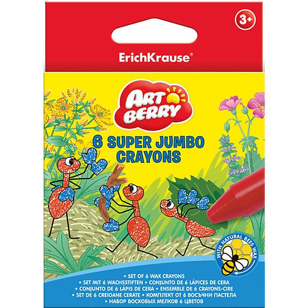 Восковые мелки 6 цв., Super JumboМасляные и восковые мелки<br>Рисовать восковыми мелками - весело и легко! Восковые мелки Super Jumbo разработаны специально для детей, осваивающих рисование. В наборе - 6 мелков разных цветов, здесь собраны основные оттенки, необходимые маленьким художникам. Рисование помогает детям развивать усидчивость, воображение, образное восприятие мира, а также мелкую моторику рук. <br>Мелки сделаны из безопасных для детей материалов, они производятся с применением натурального пчелиного воска. Ими можно рисовать на картоне, бумаге, даже на стекле и керамике! Удобная форма помогает крепко держать их даже маленькой рукой. Картонная упаковка  поможет хранить мелки и не терять их. Мелки не ломаются, не пачкают руки и не имеют запаха. Каждый мелок обернут специальной бумагой.<br><br>Дополнительная информация:<br><br>комплектация: 6 шт;<br>удобная упаковка;<br>размер:  1,5 ? 12,5 ? 8,7 см;<br>яркие цвета;<br>безопасные материалы;<br>удобная форма.<br><br>Восковые мелки 6 цв., Super Jumbo можно купить в нашем магазине.<br>Ширина мм: 87; Глубина мм: 15; Высота мм: 125; Вес г: 118; Возраст от месяцев: 36; Возраст до месяцев: 204; Пол: Унисекс; Возраст: Детский; SKU: 4682081;