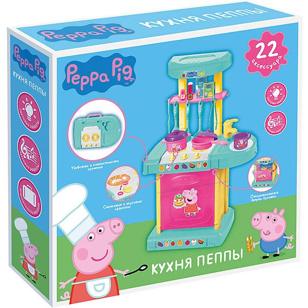 Набор «Кухня Пеппы», со светом и звуком, Свинка ПеппаИгрушки<br>Игровой набор «Кухня Пеппы» «Peppa Pig» - это мечта будущей хозяюшки. С ним маленькая любительница кулинарии почувствует себя настоящим шеф-поваром. Для этого в наборе есть разборная плита с открывающейся дверцей духовки и свето-звуковыми эффектами, а также 22 аксессуара: лопатка, шумовка, половник, салатные щипцы, ложка, вилка, 2 безопасных ножа, 2 чашки, кастрюлька с крышкой, мини-сковородка с крышкой, 2 блюдца, 2 тарелки, 2 бутылочки для специй, 2 картонные коробочки для муки/сахара, инструкция по сборке. <br><br>Дополнительная информация:<br><br>Размер плиты в готовом для игры виде: 40х15х25 см. <br>Плита складывается в компактный и удобный для переноски чемоданчик (25х15х6 см) с ручкой, работает от 2 батареек типа АА (в комплект не входят). <br>Световые эффекты: при повороте ручки подсвечиваются конфорки. <br>Звуковые эффекты: звук приготовления еды и звуки работающей плиты.<br>Игрушки выполнены из качественного пластика и картона, не имеют острых углов. <br>Упаковка: подарочная коробка 28,5х30,5х6,5 см.<br><br>Набор «Кухня Пеппы», со светом и звуком, Свинка Пеппа можно купить в нашем магазине.<br>Ширина мм: 300; Глубина мм: 287; Высота мм: 65; Вес г: 627; Возраст от месяцев: 36; Возраст до месяцев: 96; Пол: Унисекс; Возраст: Детский; SKU: 4684615;