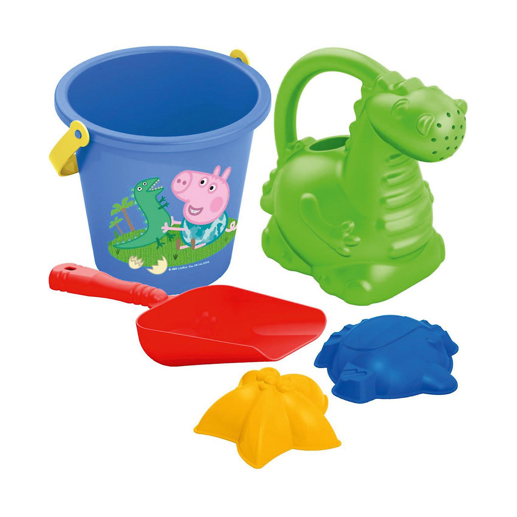 Песочный набор Свинка ПеппаПопулярные игрушки<br>Отправляясь на прогулку или на пляж со своим малышом, не забудьте взять с собой песочный набор «Peppa Pig». Он поможет крохе создать из песка множество рыбок и морских звезд, построить песочные замки. Играть с любимыми персонажами мультфильма и удивительной леечкой в виде динозаврика так увлекательно! Игра с этим набором  способствует развитию мелкой моторики, общей координации движений и, конечно же, воображения!&#13;<br><br>Дополнительная информация:<br><br>В составе песочного набора «Peppa Pig» 5 предметов: ведерко объемом 0,9 л с изображением Пеппы и ее брата Джорджа, лейка в виде динозавра высотой 13,5 см, совочек длиной 16,5 см, 2 формочки (морская звезда, рыбка). <br>Игрушки выполнены из высококачественного безопасного пластика. <br>Упаковка - сетка с этикеткой.<br><br>Песочный набор Свинка Пеппа можно купить в нашем магазине.<br><br>Ширина мм: 215<br>Глубина мм: 135<br>Высота мм: 135<br>Вес г: 120<br>Возраст от месяцев: 36<br>Возраст до месяцев: 96<br>Пол: Унисекс<br>Возраст: Детский<br>SKU: 4684621