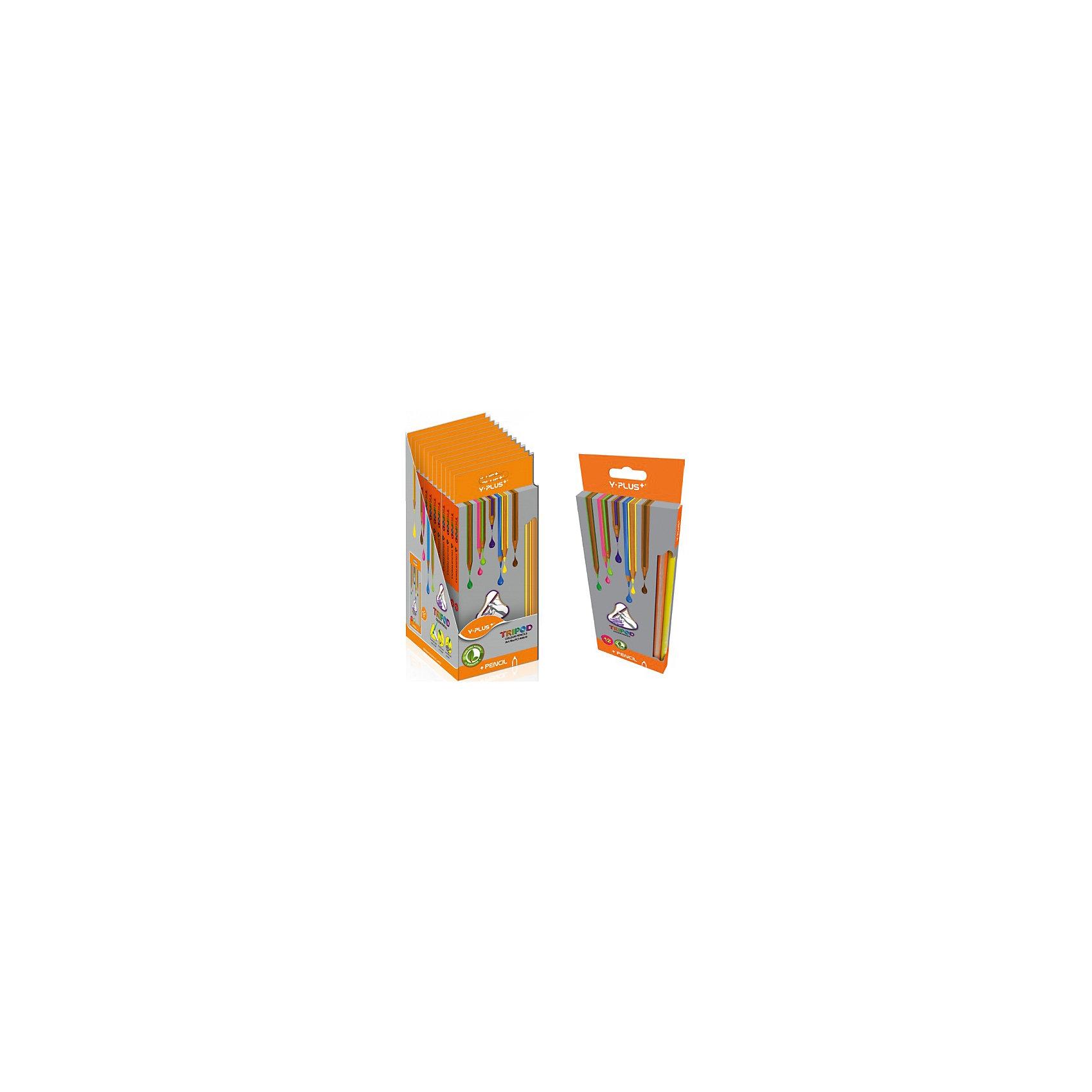 - Набор цветных карандашей Y-Plus TRIPOD, 12 цв. набор цветных карандашей maped color peps 12 шт 683212 в тубусе подставке