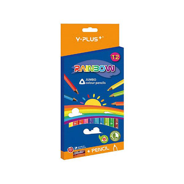 Набор утолщённых цветных карандашей+точилка Y-Plus RAINBOW, 12 цв.Школьные аксессуары<br>Набор цветных карандашей+точилка Y-Plus RAINBOW, 12 цв. от марки Stabilo<br><br>Эти карандаши созданы немецкой компанией для комфортного и легкого рисования. Легко затачиваются, при этом грифель очень устойчив к поломкам. Цвета яркие, линия мягкая и однородная. Будут долго держаться на бумаге и не выцветать.<br>Грифель - из высококачественного материала. В наборе - 12 карандашей разных цветов. Они отлично лежат в детской руке благодаря удобному утолщенному корпусу и качественному покрытию. В набор входит точилка.<br><br>Особенности данной модели:<br><br>комплектация: 12 карандашей и точилка.<br><br>Набор цветных карандашей+точилка Y-Plus RAINBOW, 12 цв. от марки Stabilo можно купить в нашем магазине.<br>Ширина мм: 210; Глубина мм: 100; Высота мм: 20; Вес г: 115; Возраст от месяцев: 36; Возраст до месяцев: 2147483647; Пол: Унисекс; Возраст: Детский; SKU: 4684723;