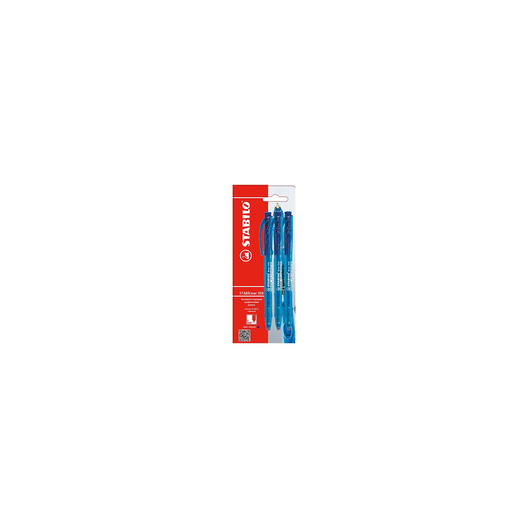 Ручка синяя, 3 шт.Письменные принадлежности<br>Ручка синяя, 3 шт. от марки Stabilo<br><br>Удобные немецкие ручки от компании Stabilo в прозрачном корпусе. Пишущий инструмент отличного качества! Автоматическая шариковая ручка имеет заменяемый стержень и надежный клип.<br>Отлично ложится в руке, пишет мягко. Дает аккуратную линию. Чернил хватает на долгое время! Чернила быстро сохнут. В наборе - три одинаковые ручки.<br><br>Особенности данной модели:<br><br>ширина оставляемого следа: 0,3 мм;<br>цвет корпуса: синий.<br><br>Ручка синяя, 3 шт. от марки Stabilo можно купить в нашем магазине.<br><br>Ширина мм: 204<br>Глубина мм: 80<br>Высота мм: 10<br>Вес г: 9<br>Возраст от месяцев: 36<br>Возраст до месяцев: 2147483647<br>Пол: Унисекс<br>Возраст: Детский<br>SKU: 4684726