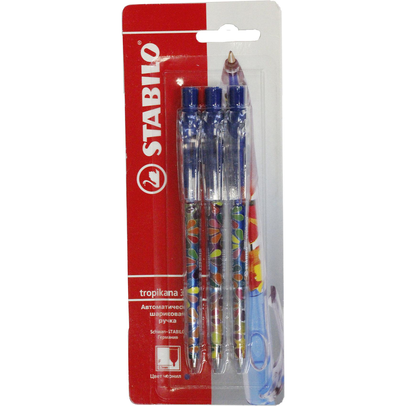 Ручка синяя, 3 шт.Ручка синяя, 3 шт. от марки Stabilo<br><br>Удобные немецкие ручки от компании Stabilo в прозрачном корпусе. Пишущий инструмент отличного качества! Автоматическая шариковая ручка имеет заменяемый стержень и надежный клип.<br>Отлично ложится в руке, пишет мягко. Дает аккуратную линию. Чернил хватает на долгое время! Чернила быстро сохнут. В наборе - три ручки. с синими чернилами и разными яркими корпусами.<br><br>Особенности данной модели:<br><br>ширина оставляемого следа: 0,3 мм;<br>цвет корпуса: разноцветный.<br><br>Ручка синяя, 3 шт. от марки Stabilo можно купить в нашем магазине.<br><br>Ширина мм: 204<br>Глубина мм: 80<br>Высота мм: 10<br>Вес г: 9<br>Возраст от месяцев: 36<br>Возраст до месяцев: 2147483647<br>Пол: Унисекс<br>Возраст: Детский<br>SKU: 4684727