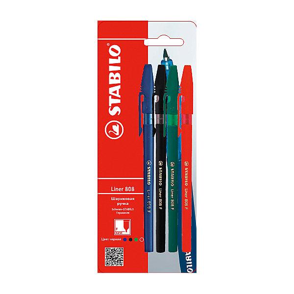 Набор ручекПисьменные принадлежности<br>Набор ручек от марки Stabilo<br><br>Удобные немецкие ручки от компании Stabilo в классическом корпусе. Пишущий инструмент отличного качества! Шариковая ручка имеет заменяемый стержень и надежную защиту от протекания чернил.<br>Отлично ложится в руке, пишет мягко. Дает аккуратную тонкую линию. Чернил хватает на долгое время! Чернила быстро сохнут. В наборе - четыре ручки разных цветов.<br><br>Особенности данной модели:<br><br>ширина оставляемого следа: 0,3 мм;<br>цвета чернил и корпуса: синий, черный, зеленый, красный.<br><br>Набор ручек от марки Stabilo можно купить в нашем магазине.<br>Ширина мм: 204; Глубина мм: 80; Высота мм: 10; Вес г: 10; Возраст от месяцев: 36; Возраст до месяцев: 2147483647; Пол: Унисекс; Возраст: Детский; SKU: 4684730;