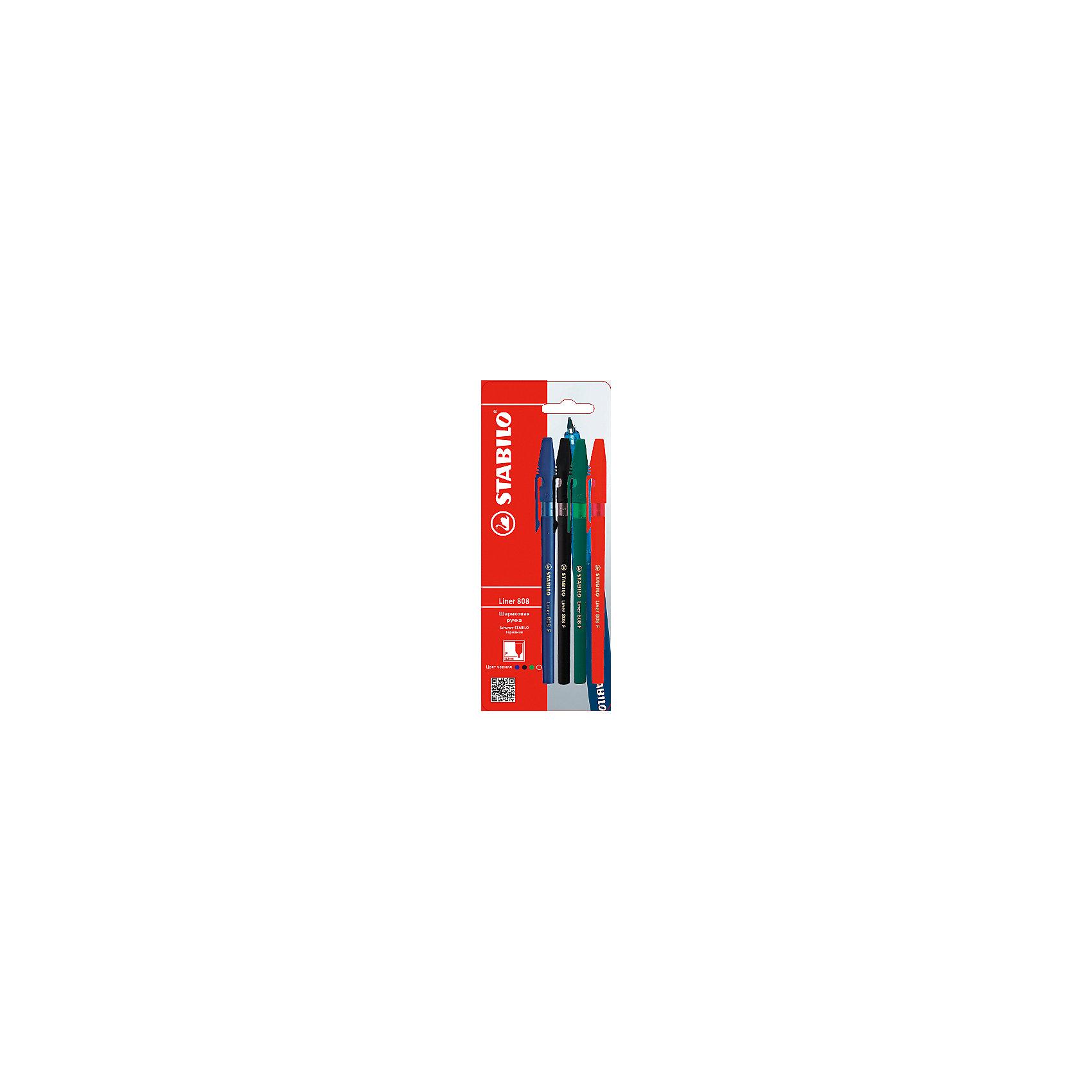 Набор ручекПисьменные принадлежности<br>Набор ручек от марки Stabilo<br><br>Удобные немецкие ручки от компании Stabilo в классическом корпусе. Пишущий инструмент отличного качества! Шариковая ручка имеет заменяемый стержень и надежную защиту от протекания чернил.<br>Отлично ложится в руке, пишет мягко. Дает аккуратную тонкую линию. Чернил хватает на долгое время! Чернила быстро сохнут. В наборе - четыре ручки разных цветов.<br><br>Особенности данной модели:<br><br>ширина оставляемого следа: 0,3 мм;<br>цвета чернил и корпуса: синий, черный, зеленый, красный.<br><br>Набор ручек от марки Stabilo можно купить в нашем магазине.<br><br>Ширина мм: 204<br>Глубина мм: 80<br>Высота мм: 10<br>Вес г: 10<br>Возраст от месяцев: 36<br>Возраст до месяцев: 2147483647<br>Пол: Унисекс<br>Возраст: Детский<br>SKU: 4684730