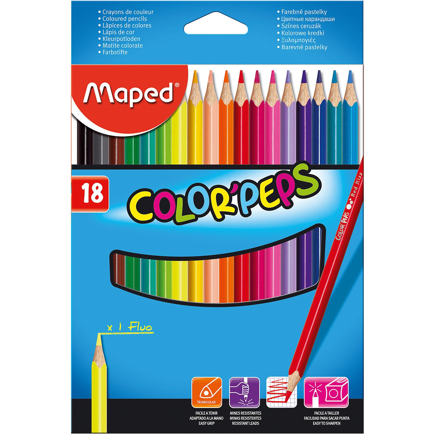 Набор цветных карандашей COLORPEPS, 18 цв.Набор цветных карандашей COLORPEPS, 18 цв. от марки Maped<br><br>Эти карандаши созданы компанией Maped для комфортного и легкого рисования. Легко затачиваются, при этом грифель очень устойчив к поломкам. Цвета яркие, линия мягкая и однородная.<br>Грифель - из высококачественного материала. В наборе - 18 карандашей разных цветов. Они отлично лежат в руке благодаря удобной форме и качественному покрытию. Действительно удобный инструмент для рисования. Созданы для ярких картин!<br><br>Особенности данной модели:<br><br>материал корпуса: дерево;<br>комплектация: 18 шт.<br><br>Набор цветных карандашей COLORPEPS, 18 цв. от марки Maped можно купить в нашем магазине.<br><br>Ширина мм: 146<br>Глубина мм: 214<br>Высота мм: 10<br>Вес г: 116<br>Возраст от месяцев: 36<br>Возраст до месяцев: 2147483647<br>Пол: Унисекс<br>Возраст: Детский<br>SKU: 4684738