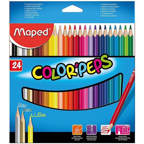 Набор цветных карандашей COLORPEPS, 24 цв.Письменные принадлежности<br>Набор цветных карандашей COLORPEPS, 24 цв. от марки Maped<br><br>Эти карандаши созданы компанией Maped для комфортного и легкого рисования. Легко затачиваются, при этом грифель очень устойчив к поломкам. Цвета яркие, линия мягкая и однородная.<br>Грифель - из высококачественного материала. В наборе - 24 карандашей разных цветов. Они отлично лежат в руке благодаря удобной форме и качественному покрытию. Действительно удобный инструмент для рисования. Созданы для ярких картин! Безопасны для детей.<br><br>Особенности данной модели:<br><br>материал корпуса: дерево;<br>комплектация: 24 шт.<br><br>Набор цветных карандашей COLORPEPS, 24 цв. от марки Maped можно купить в нашем магазине.<br>Ширина мм: 192; Глубина мм: 214; Высота мм: 10; Вес г: 172; Возраст от месяцев: 36; Возраст до месяцев: 2147483647; Пол: Унисекс; Возраст: Детский; SKU: 4684739;