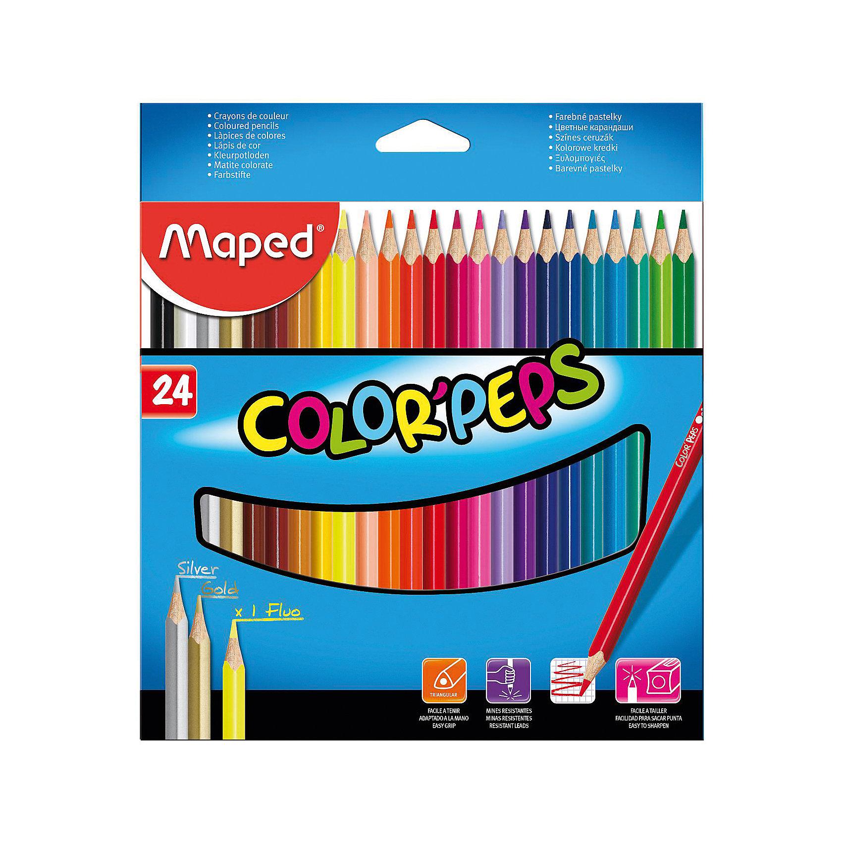 Набор цветных карандашей COLORPEPS, 24 цв.Письменные принадлежности<br>Набор цветных карандашей COLORPEPS, 24 цв. от марки Maped<br><br>Эти карандаши созданы компанией Maped для комфортного и легкого рисования. Легко затачиваются, при этом грифель очень устойчив к поломкам. Цвета яркие, линия мягкая и однородная.<br>Грифель - из высококачественного материала. В наборе - 24 карандашей разных цветов. Они отлично лежат в руке благодаря удобной форме и качественному покрытию. Действительно удобный инструмент для рисования. Созданы для ярких картин! Безопасны для детей.<br><br>Особенности данной модели:<br><br>материал корпуса: дерево;<br>комплектация: 24 шт.<br><br>Набор цветных карандашей COLORPEPS, 24 цв. от марки Maped можно купить в нашем магазине.<br><br>Ширина мм: 192<br>Глубина мм: 214<br>Высота мм: 10<br>Вес г: 172<br>Возраст от месяцев: 36<br>Возраст до месяцев: 2147483647<br>Пол: Унисекс<br>Возраст: Детский<br>SKU: 4684739
