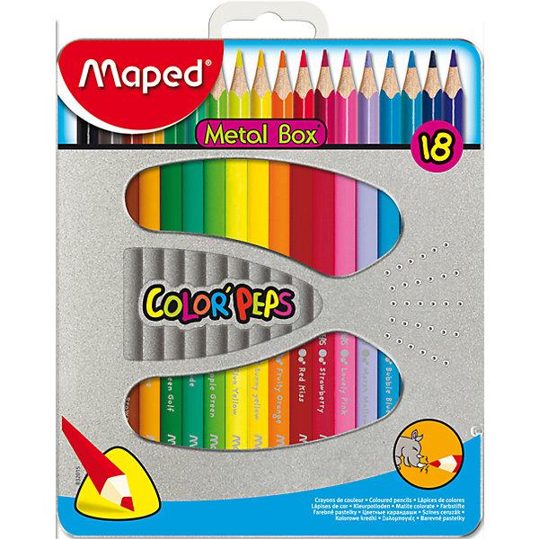 Набор цветных карандашей COLORPEPS, 18 цв.Цветные<br>Набор цветных карандашей COLORPEPS, 18 цв. от марки Maped<br><br>Эти карандаши созданы компанией Maped для комфортного и легкого рисования. Легко затачиваются, при этом грифель очень устойчив к поломкам. Цвета яркие, линия мягкая и однородная.<br>Грифель - из высококачественного материала. В наборе - 18 карандашей разных цветов. Они отлично лежат в руке благодаря удобной форме и качественному покрытию. Действительно удобный инструмент для рисования. Созданы для ярких картин! Безопасны для детей. <br><br>Особенности данной модели:<br><br>материал корпуса: дерево;<br>комплектация: 18 шт;<br>упаковка: металлический пенал.<br><br>Набор цветных карандашей COLORPEPS, 18 цв. от марки Maped можно купить в нашем магазине.<br>Ширина мм: 165; Глубина мм: 192; Высота мм: 15; Вес г: 228; Возраст от месяцев: 36; Возраст до месяцев: 2147483647; Пол: Унисекс; Возраст: Детский; SKU: 4684742;