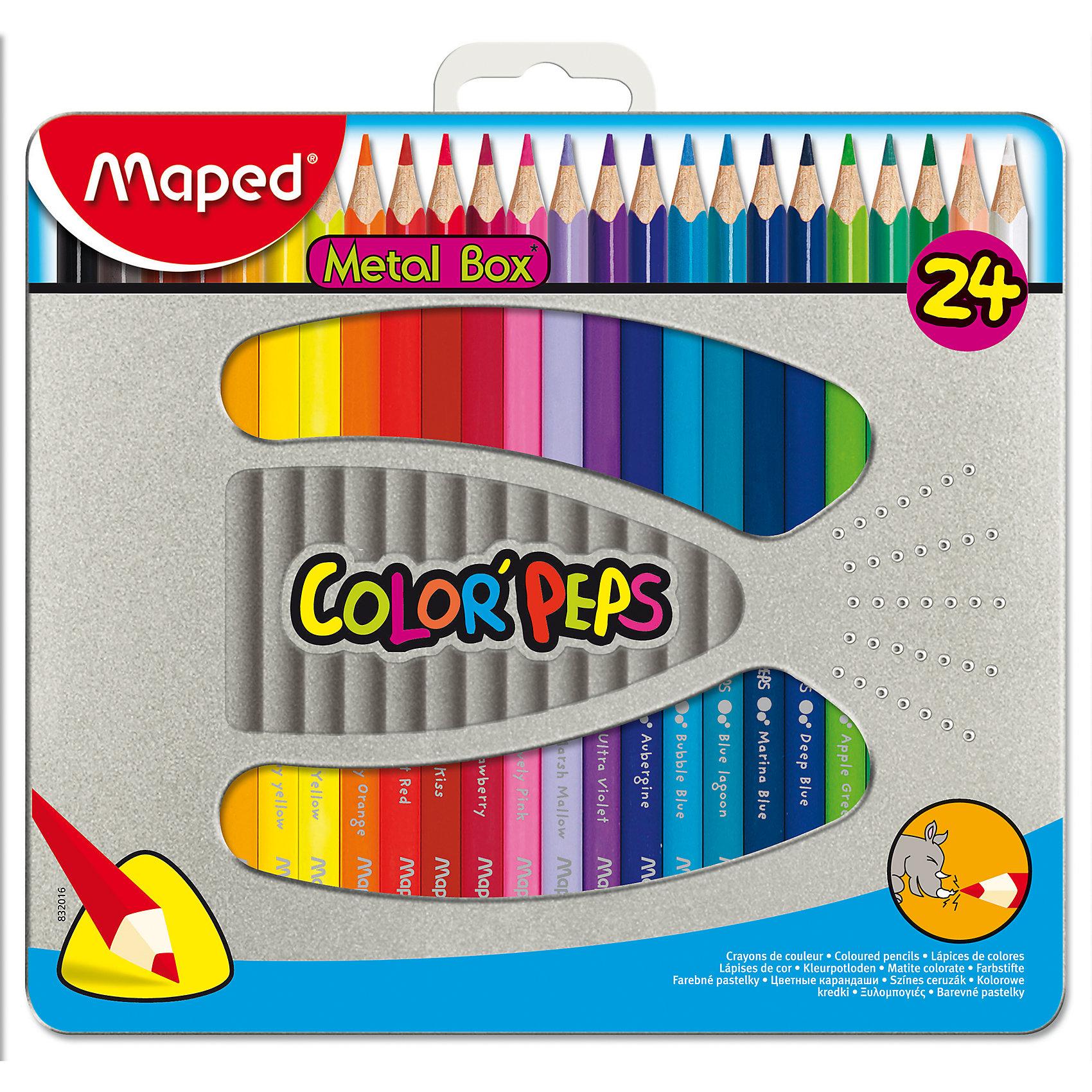 Набор цветных карандашей COLORPEPS, 24 цв.Набор цветных карандашей COLORPEPS, 24 цв. от марки Maped<br><br>Эти карандаши созданы компанией Maped для комфортного и легкого рисования. Легко затачиваются, при этом грифель очень устойчив к поломкам. Цвета яркие, линия мягкая и однородная.<br>Грифель - из высококачественного материала. В наборе - 24 карандашей разных цветов. Они отлично лежат в руке благодаря удобной форме и качественному покрытию. Действительно удобный инструмент для рисования. Созданы для ярких картин! Безопасны для детей.<br><br>Особенности данной модели:<br><br>материал корпуса: дерево;<br>комплектация: 24 шт;<br>упаковка: металлический пенал.<br><br>Набор цветных карандашей COLORPEPS, 24 цв. от марки Maped можно купить в нашем магазине.<br><br>Ширина мм: 192<br>Глубина мм: 215<br>Высота мм: 15<br>Вес г: 296<br>Возраст от месяцев: 36<br>Возраст до месяцев: 2147483647<br>Пол: Унисекс<br>Возраст: Детский<br>SKU: 4684743