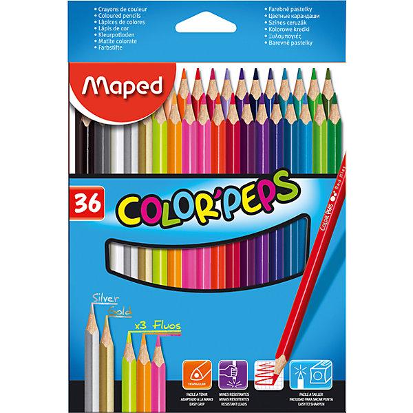 Набор цветных карандашей COLORPEPS, 36 цв.Письменные принадлежности<br>Набор цветных карандашей COLORPEPS, 36 цв. от марки Maped<br><br>Эти карандаши созданы компанией Maped для комфортного и легкого рисования. Легко затачиваются, при этом грифель очень устойчив к поломкам. Цвета яркие, линия мягкая и однородная.<br>Грифель - из высококачественного материала. В наборе - 36 карандашей разных цветов. Они отлично лежат в руке благодаря удобной форме и качественному покрытию. Действительно удобный инструмент для рисования. Созданы для ярких картин! Безопасны для детей.<br><br>Особенности данной модели:<br><br>материал корпуса: дерево;<br>комплектация: 36 шт;<br>упаковка: металлический пенал.<br><br>Набор цветных карандашей COLORPEPS, 36 цв. от марки Maped можно купить в нашем магазине.<br>Ширина мм: 146; Глубина мм: 215; Высота мм: 18; Вес г: 232; Возраст от месяцев: 36; Возраст до месяцев: 2147483647; Пол: Унисекс; Возраст: Детский; SKU: 4684744;