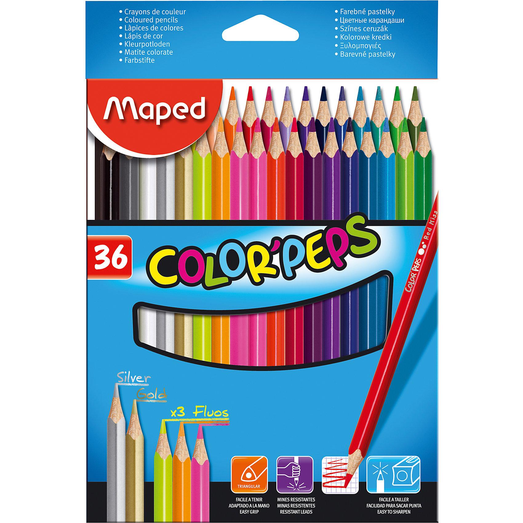 Набор цветных карандашей COLORPEPS, 36 цв.Набор цветных карандашей COLORPEPS, 36 цв. от марки Maped<br><br>Эти карандаши созданы компанией Maped для комфортного и легкого рисования. Легко затачиваются, при этом грифель очень устойчив к поломкам. Цвета яркие, линия мягкая и однородная.<br>Грифель - из высококачественного материала. В наборе - 36 карандашей разных цветов. Они отлично лежат в руке благодаря удобной форме и качественному покрытию. Действительно удобный инструмент для рисования. Созданы для ярких картин! Безопасны для детей.<br><br>Особенности данной модели:<br><br>материал корпуса: дерево;<br>комплектация: 36 шт;<br>упаковка: металлический пенал.<br><br>Набор цветных карандашей COLORPEPS, 36 цв. от марки Maped можно купить в нашем магазине.<br><br>Ширина мм: 146<br>Глубина мм: 215<br>Высота мм: 18<br>Вес г: 232<br>Возраст от месяцев: 36<br>Возраст до месяцев: 2147483647<br>Пол: Унисекс<br>Возраст: Детский<br>SKU: 4684744