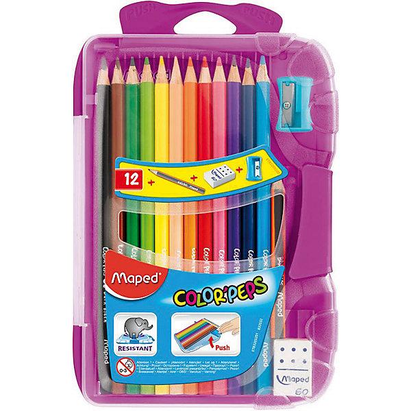 Набор цветных карандашей в пенале КАР COLORPEPS, 12 цв.Цветные<br>Набор цветных карандашей в пенале КАР COLORPEPS, 12 цв. от марки Maped<br><br>Эти карандаши созданы компанией Maped для комфортного и легкого рисования. Легко затачиваются, при этом грифель очень устойчив к поломкам. Цвета яркие, линия мягкая и однородная.<br>Грифель - из высококачественного материала. В наборе - 12 карандашей разных цветов. Они отлично лежат в руке благодаря удобной форме и качественному покрытию. Действительно удобный инструмент для рисования. Созданы для ярких картин! Безопасны для детей. Также в набор входит пластиковый удобный пенал, точилка, ластик и чернографитный карандаш.<br><br>Особенности данной модели:<br><br>материал корпуса: дерево;<br>комплектация: 12 цветных карандашей, 1 чернографитный, ластик, точилка;<br>упаковка: пластиковый пенал;<br><br>Набор цветных карандашей в пенале КАР COLORPEPS, 12 цв. от марки Maped можно купить в нашем магазине.<br>Ширина мм: 136; Глубина мм: 212; Высота мм: 20; Вес г: 154; Возраст от месяцев: 36; Возраст до месяцев: 2147483647; Пол: Унисекс; Возраст: Детский; SKU: 4684745;