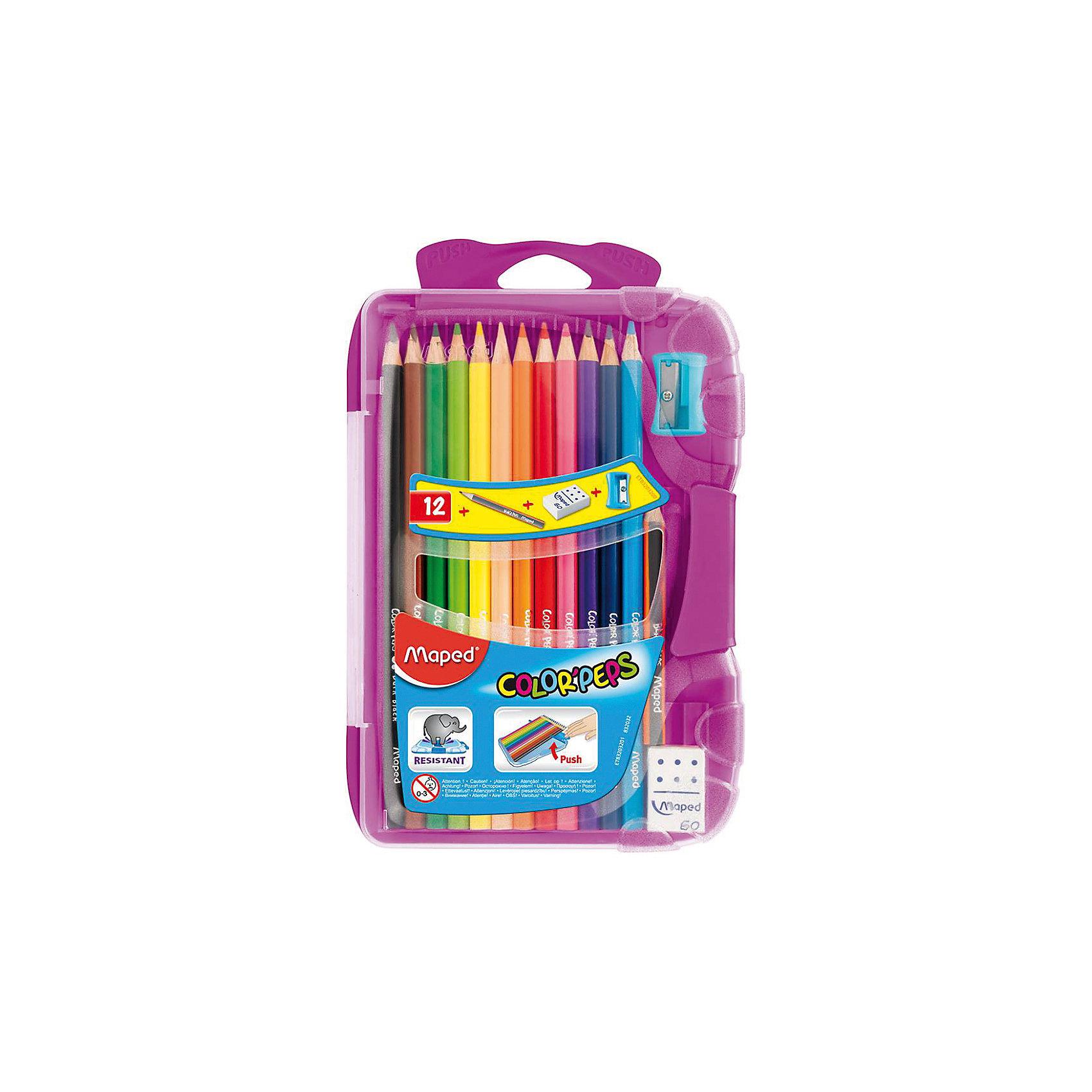 Набор цветных карандашей в пенале КАР COLORPEPS, 12 цв.Рисование<br>Набор цветных карандашей в пенале КАР COLORPEPS, 12 цв. от марки Maped<br><br>Эти карандаши созданы компанией Maped для комфортного и легкого рисования. Легко затачиваются, при этом грифель очень устойчив к поломкам. Цвета яркие, линия мягкая и однородная.<br>Грифель - из высококачественного материала. В наборе - 12 карандашей разных цветов. Они отлично лежат в руке благодаря удобной форме и качественному покрытию. Действительно удобный инструмент для рисования. Созданы для ярких картин! Безопасны для детей. Также в набор входит пластиковый удобный пенал, точилка, ластик и чернографитный карандаш.<br><br>Особенности данной модели:<br><br>материал корпуса: дерево;<br>комплектация: 12 цветных карандашей, 1 чернографитный, ластик, точилка;<br>упаковка: пластиковый пенал;<br><br>Набор цветных карандашей в пенале КАР COLORPEPS, 12 цв. от марки Maped можно купить в нашем магазине.<br><br>Ширина мм: 136<br>Глубина мм: 212<br>Высота мм: 20<br>Вес г: 154<br>Возраст от месяцев: 36<br>Возраст до месяцев: 2147483647<br>Пол: Унисекс<br>Возраст: Детский<br>SKU: 4684745