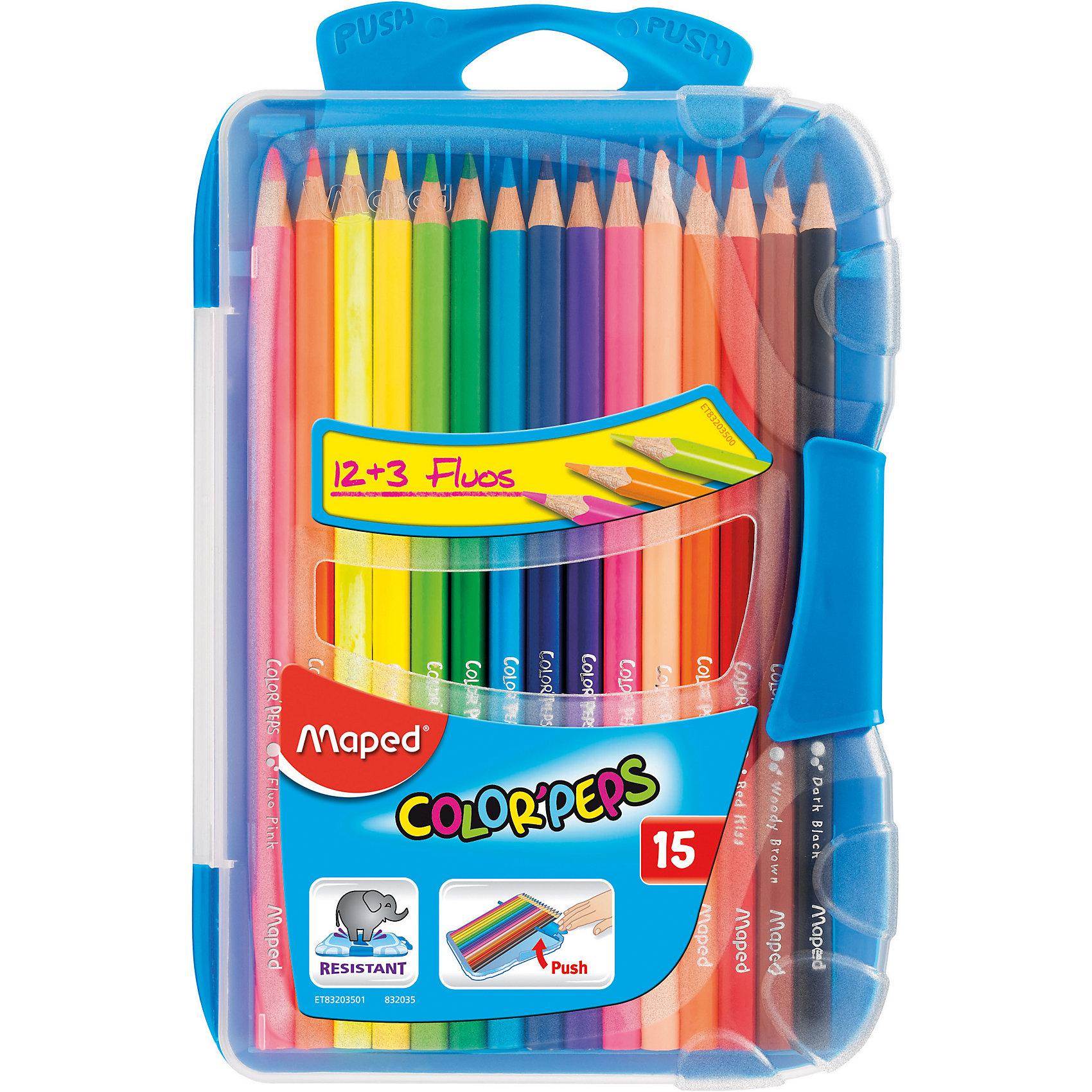 Набор цветных карандашей в пенале КАР COLORPEPS, 15 цв.Рисование<br>Набор цветных карандашей в пенале КАР COLORPEPS, 15 цв. от марки Maped<br><br>Эти карандаши созданы компанией Maped для комфортного и легкого рисования. Легко затачиваются, при этом грифель очень устойчив к поломкам. Цвета яркие, линия мягкая и однородная.<br>Грифель - из высококачественного материала. В наборе - 15 карандашей разных цветов (плюс - три флюоресцентных). Они отлично лежат в руке благодаря удобной форме и качественному покрытию. Действительно удобный инструмент для рисования. Созданы для ярких картин! Безопасны для детей. Также в набор входит пластиковый удобный пенал.<br>Особенности данной модели:<br><br>материал корпуса: дерево;<br>комплектация: 15 цветных карандашей, 3 флюоресцентных;<br>упаковка: пластиковый пенал;<br><br>Набор цветных карандашей в пенале КАР COLORPEPS, 15 цв. от марки Maped можно купить в нашем магазине.<br><br>Ширина мм: 136<br>Глубина мм: 212<br>Высота мм: 20<br>Вес г: 154<br>Возраст от месяцев: 36<br>Возраст до месяцев: 2147483647<br>Пол: Унисекс<br>Возраст: Детский<br>SKU: 4684746