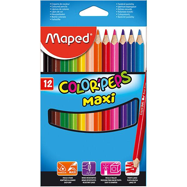 Набор цветных карандашей COLORPEPS MAXI, 12 цв.Письменные принадлежности<br>Набор цветных карандашей COLORPEPS MAXI, 12 цв. от марки Maped<br><br>Эти карандаши созданы компанией Maped для комфортного и легкого рисования. Легко затачиваются, при этом грифель очень устойчив к поломкам. Цвета яркие, линия мягкая и однородная.<br>Грифель - из высококачественного материала. В наборе - 12 карандашей разных цветов. Они отлично лежат в руке благодаря удобной форме и качественному покрытию. Действительно удобный инструмент для рисования. Созданы для ярких картин! Безопасны для детей. Данный набор отличается большим диаметром карандашей, что делает его оптимальным для начинающих художников  - в маленькой руке такие карандаши лягут удобно.<br><br>Особенности данной модели:<br><br>материал корпуса: дерево;<br>комплектация: 12 цветных карандашей;<br>упаковка: картон;<br><br>Набор цветных карандашей COLORPEPS MAXI, 12 цв. от марки Maped можно купить в нашем магазине.<br><br>Ширина мм: 116<br>Глубина мм: 203<br>Высота мм: 11<br>Вес г: 141<br>Возраст от месяцев: 36<br>Возраст до месяцев: 2147483647<br>Пол: Унисекс<br>Возраст: Детский<br>SKU: 4684747