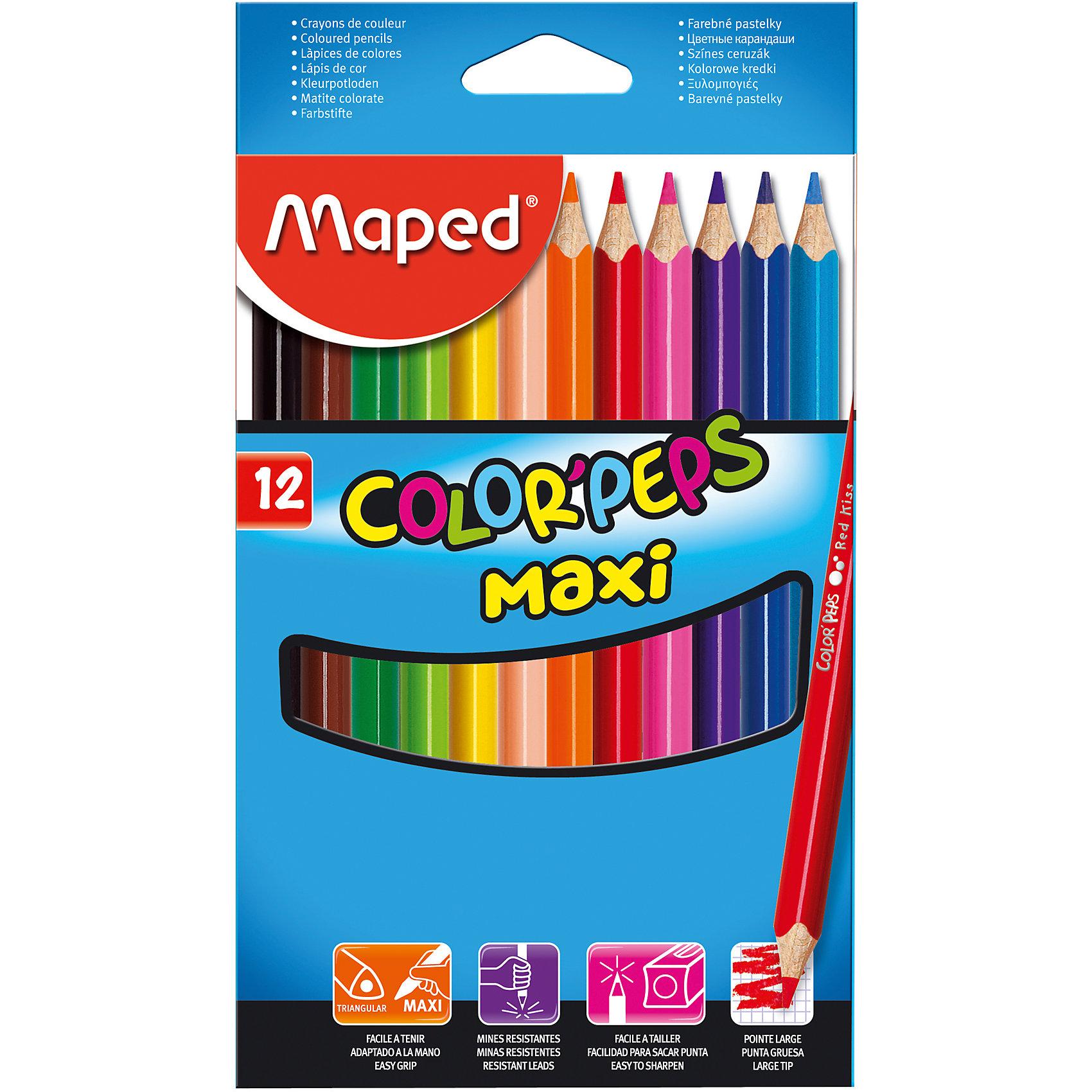 Набор цветных карандашей COLORPEPS MAXI, 12 цв.Набор цветных карандашей COLORPEPS MAXI, 12 цв. от марки Maped<br><br>Эти карандаши созданы компанией Maped для комфортного и легкого рисования. Легко затачиваются, при этом грифель очень устойчив к поломкам. Цвета яркие, линия мягкая и однородная.<br>Грифель - из высококачественного материала. В наборе - 12 карандашей разных цветов. Они отлично лежат в руке благодаря удобной форме и качественному покрытию. Действительно удобный инструмент для рисования. Созданы для ярких картин! Безопасны для детей. Данный набор отличается большим диаметром карандашей, что делает его оптимальным для начинающих художников  - в маленькой руке такие карандаши лягут удобно.<br><br>Особенности данной модели:<br><br>материал корпуса: дерево;<br>комплектация: 12 цветных карандашей;<br>упаковка: картон;<br><br>Набор цветных карандашей COLORPEPS MAXI, 12 цв. от марки Maped можно купить в нашем магазине.<br><br>Ширина мм: 116<br>Глубина мм: 203<br>Высота мм: 11<br>Вес г: 141<br>Возраст от месяцев: 36<br>Возраст до месяцев: 2147483647<br>Пол: Унисекс<br>Возраст: Детский<br>SKU: 4684747