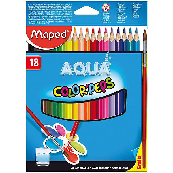 Набор цветных карандашей АКВА COLORPEPS, 18 цв.Письменные принадлежности<br>Набор цветных карандашей АКВА COLORPEPS, 18 цв. от марки Maped<br><br>Эти карандаши созданы компанией Maped для комфортного и легкого рисования. Легко затачиваются, при этом грифель очень устойчив к поломкам. Цвета яркие, линия мягкая и однородная. Рисование помогает детям развивать усидчивость, воображение, образное восприятие мира, а также мелкую моторику рук.<br>Грифель этих карандашей - из высококачественного материала. В наборе - 18 карандашей разных цветов. Они отлично лежат в руке благодаря удобной форме и качественному покрытию. Действительно удобный инструмент для рисования. Созданы для ярких картин! Безопасны для детей. Данный набор отличается присутствием кисточки в наборе. Эти карандаши относятся к акварельным, поэтому их можно развести водой и смешать цвета.<br><br>Особенности данной модели:<br><br>материал корпуса: дерево;<br>комплектация: 18 цветных карандашей, комплектация;<br>упаковка: картон;<br><br>Набор цветных карандашей АКВА COLORPEPS, 18 цв. от марки Maped можно купить в нашем магазине.<br>Ширина мм: 153; Глубина мм: 214; Высота мм: 9; Вес г: 124; Возраст от месяцев: 36; Возраст до месяцев: 2147483647; Пол: Унисекс; Возраст: Детский; SKU: 4684748;