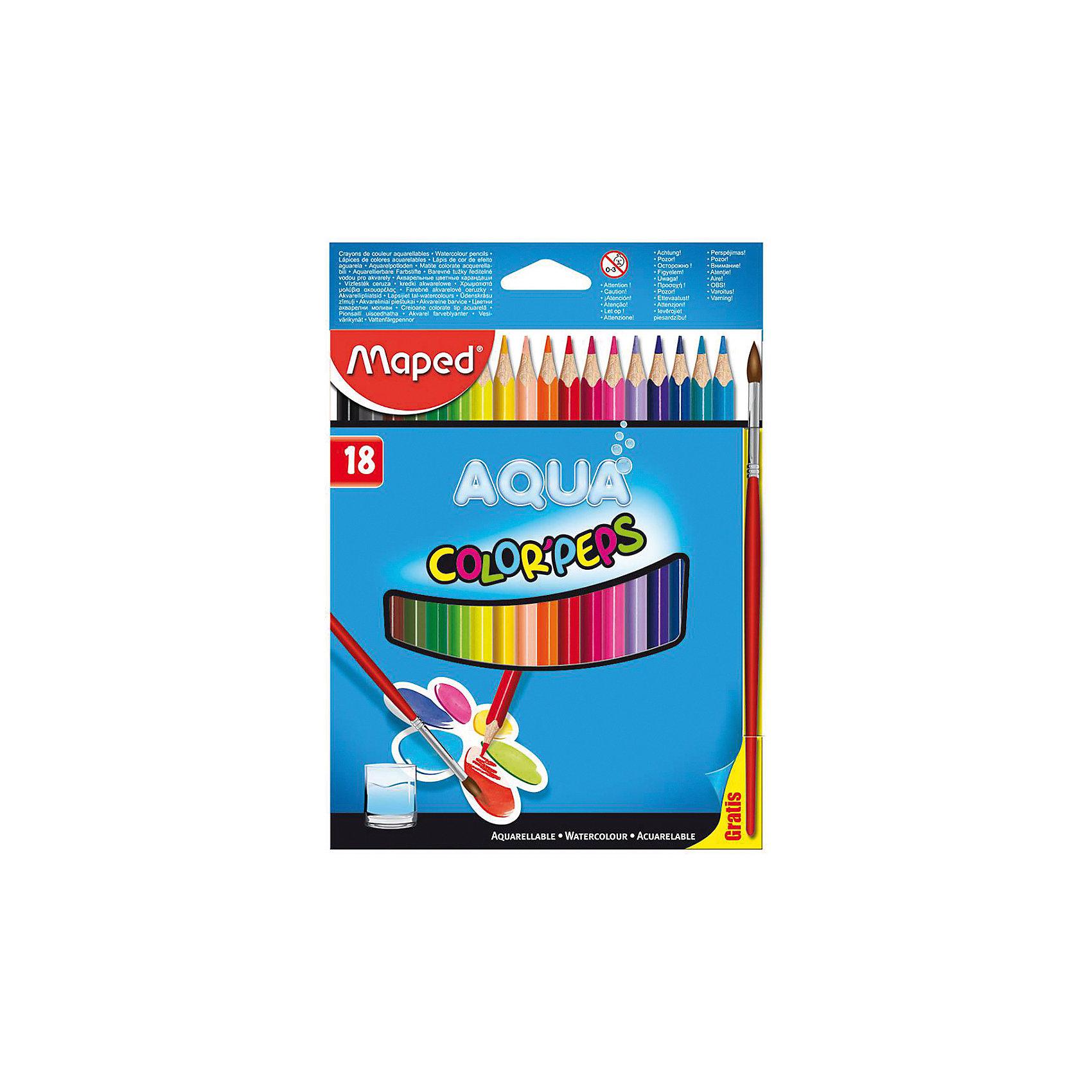 Набор цветных карандашей АКВА COLORPEPS, 18 цв.Письменные принадлежности<br>Набор цветных карандашей АКВА COLORPEPS, 18 цв. от марки Maped<br><br>Эти карандаши созданы компанией Maped для комфортного и легкого рисования. Легко затачиваются, при этом грифель очень устойчив к поломкам. Цвета яркие, линия мягкая и однородная. Рисование помогает детям развивать усидчивость, воображение, образное восприятие мира, а также мелкую моторику рук.<br>Грифель этих карандашей - из высококачественного материала. В наборе - 18 карандашей разных цветов. Они отлично лежат в руке благодаря удобной форме и качественному покрытию. Действительно удобный инструмент для рисования. Созданы для ярких картин! Безопасны для детей. Данный набор отличается присутствием кисточки в наборе. Эти карандаши относятся к акварельным, поэтому их можно развести водой и смешать цвета.<br><br>Особенности данной модели:<br><br>материал корпуса: дерево;<br>комплектация: 18 цветных карандашей, комплектация;<br>упаковка: картон;<br><br>Набор цветных карандашей АКВА COLORPEPS, 18 цв. от марки Maped можно купить в нашем магазине.<br><br>Ширина мм: 153<br>Глубина мм: 214<br>Высота мм: 9<br>Вес г: 124<br>Возраст от месяцев: 36<br>Возраст до месяцев: 2147483647<br>Пол: Унисекс<br>Возраст: Детский<br>SKU: 4684748