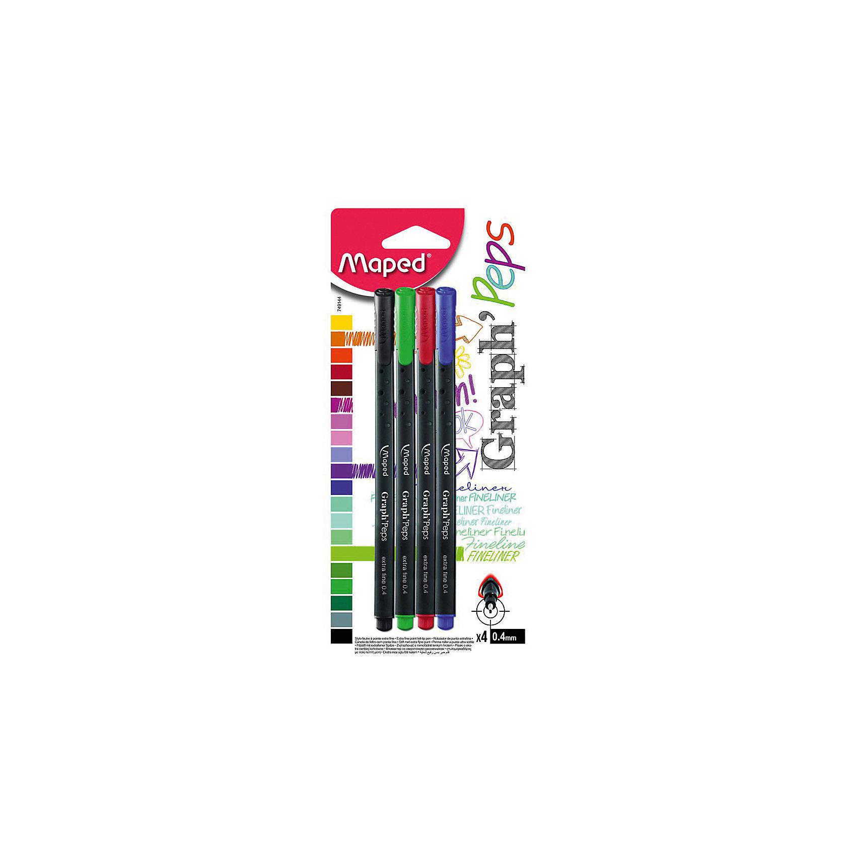 Капилярная ручка 0.4 мм, 4 цв.Письменные принадлежности<br>Капиллярная ручка 0.4 мм, 4 цв. от марки Maped<br><br>Удобные ручки от компании Maped в классическом корпусе. Пишущий инструмент отличного качества! Капиллярная ручка имеет металлический наконечник и защиту от протекания чернил.<br>Отлично ложится в руке, пишет мягко. Дает аккуратную линию. Чернил хватает на долгое время, они быстро сохнут. В наборе - четыре ручки разных цветов.<br><br>Особенности данной модели:<br><br>ширина оставляемого следа: 0,4 мм;<br>цвета чернил и корпуса: синий, черный, зеленый, красный.<br><br>Капиллярная ручка 0.4 мм, 4 цв. от марки Maped можно купить в нашем магазине.<br><br>Ширина мм: 16<br>Глубина мм: 90<br>Высота мм: 210<br>Вес г: 34<br>Возраст от месяцев: 36<br>Возраст до месяцев: 2147483647<br>Пол: Унисекс<br>Возраст: Детский<br>SKU: 4684752