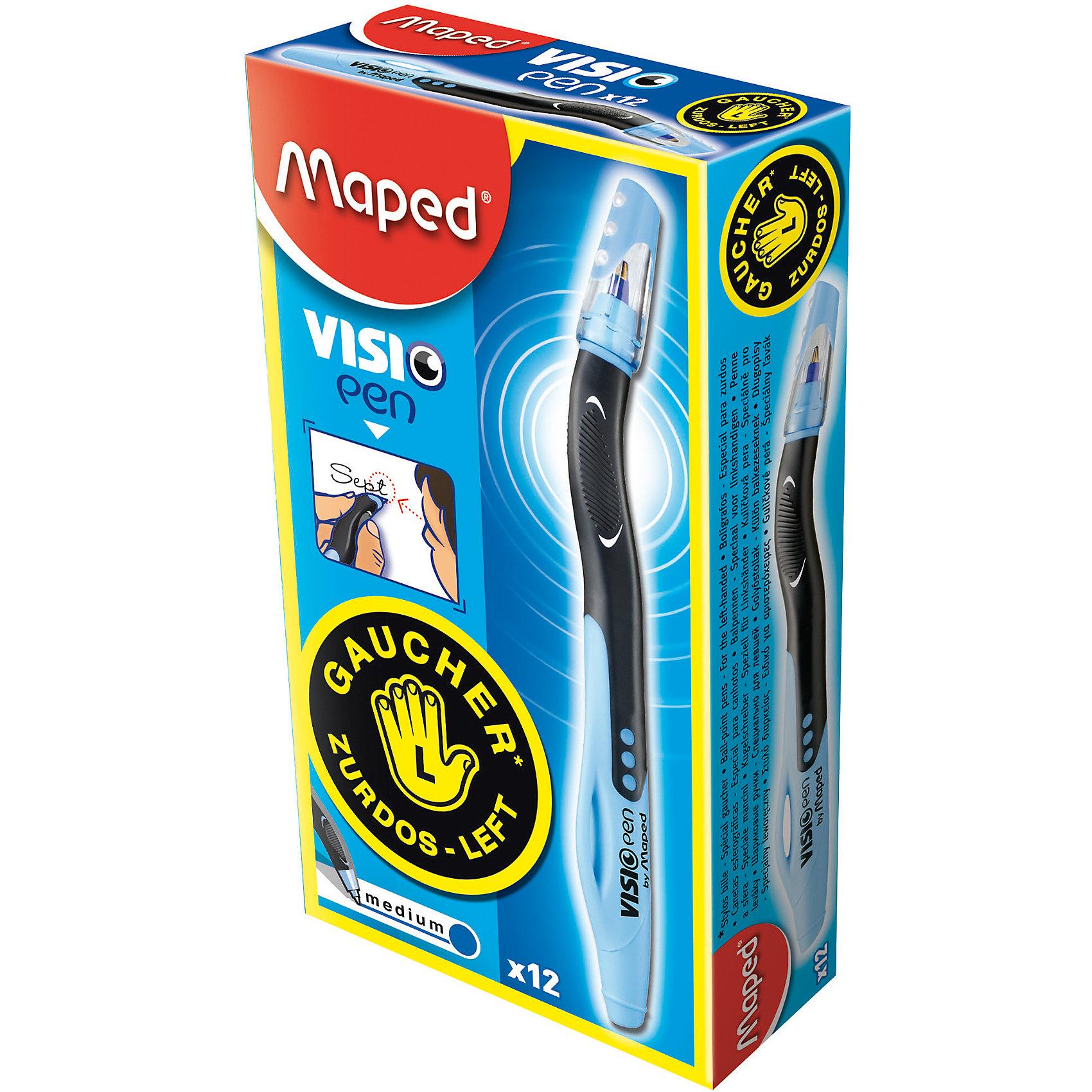 Шариковая ручка для левшей VISIO, синяяПисьменные принадлежности<br>Шариковая ручка для левшей VISIO, синяя от марки Maped<br><br>Удобная ручка от компании Maped разработана специально для тех, кому удобнее писать левой рукой. Пишущий инструмент отличного качества! Шариковая ручка имеет защиту от протекания чернил.<br>Отлично ложится в руке, пишет мягко. Дает аккуратную линию. Чернил хватает на долгое время, они быстро сохнут. Ручка одноразовая.<br><br>Особенности данной модели:<br><br>диаметр шарика: 1 мм;<br>цвета чернил: синий;<br>цвета корпуса: голубой, черный.<br><br>Шариковую ручку для левшей VISIO, синяя от марки Maped можно купить в нашем магазине.<br><br>Ширина мм: 17<br>Глубина мм: 147<br>Высота мм: 12<br>Вес г: 9<br>Возраст от месяцев: 36<br>Возраст до месяцев: 2147483647<br>Пол: Унисекс<br>Возраст: Детский<br>SKU: 4684753