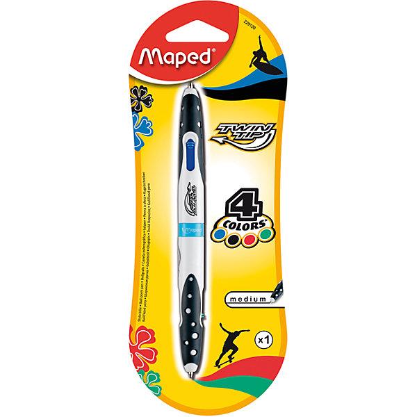 Шариковая ручка, 1 мм, 4 цв.Письменные принадлежности<br>Шариковая ручка, 1 мм, 4 цв. от марки Maped<br><br>Удобная ручка от компании Maped в удобном корпусе. Пишущий инструмент отличного качества! Автоматическая система выдвижения.<br>Отлично ложится в руке, пишет мягко. Дает аккуратную линию. Чернил хватает на долгое время, они быстро сохнут. Внутри - четыре стержня разных цветов.<br><br>Особенности данной модели:<br><br>диаметр шарика: 1 мм;<br>цвета чернил: синий, черный, зеленый, красный;<br>обрезиненный корпус.<br><br>Шариковая ручка, 1 мм, 4 цв. от марки Maped можно купить в нашем магазине.<br>Ширина мм: 80; Глубина мм: 210; Высота мм: 15; Вес г: 13; Возраст от месяцев: 36; Возраст до месяцев: 2147483647; Пол: Унисекс; Возраст: Детский; SKU: 4684754;