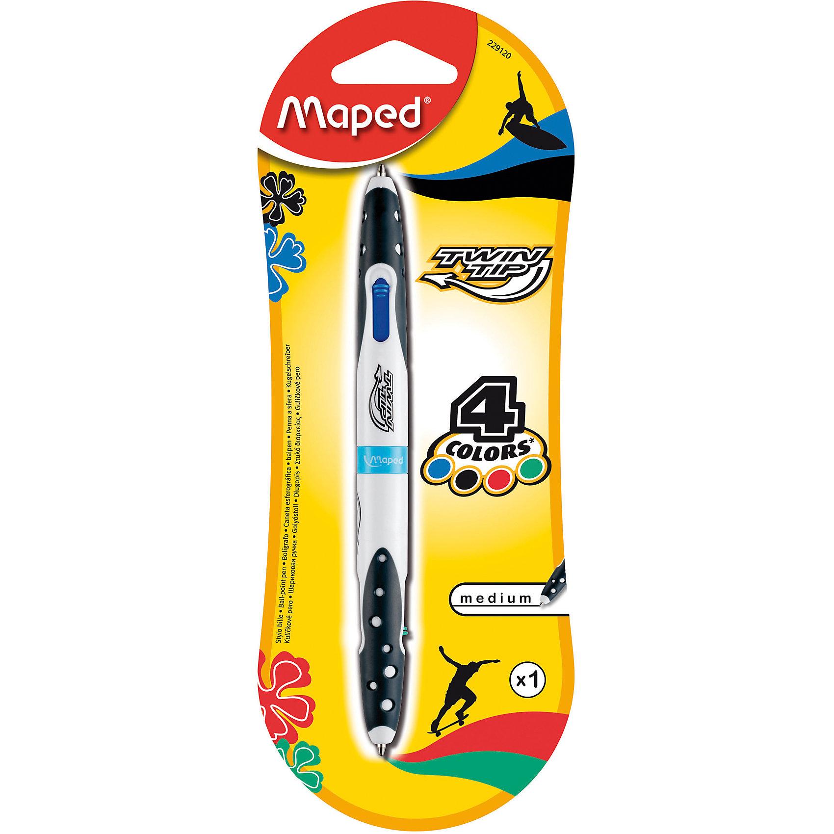Шариковая ручка, 1 мм, 4 цв.Письменные принадлежности<br>Шариковая ручка, 1 мм, 4 цв. от марки Maped<br><br>Удобная ручка от компании Maped в удобном корпусе. Пишущий инструмент отличного качества! Автоматическая система выдвижения.<br>Отлично ложится в руке, пишет мягко. Дает аккуратную линию. Чернил хватает на долгое время, они быстро сохнут. Внутри - четыре стержня разных цветов.<br><br>Особенности данной модели:<br><br>диаметр шарика: 1 мм;<br>цвета чернил: синий, черный, зеленый, красный;<br>обрезиненный корпус.<br><br>Шариковая ручка, 1 мм, 4 цв. от марки Maped можно купить в нашем магазине.<br><br>Ширина мм: 80<br>Глубина мм: 210<br>Высота мм: 15<br>Вес г: 13<br>Возраст от месяцев: 36<br>Возраст до месяцев: 2147483647<br>Пол: Унисекс<br>Возраст: Детский<br>SKU: 4684754