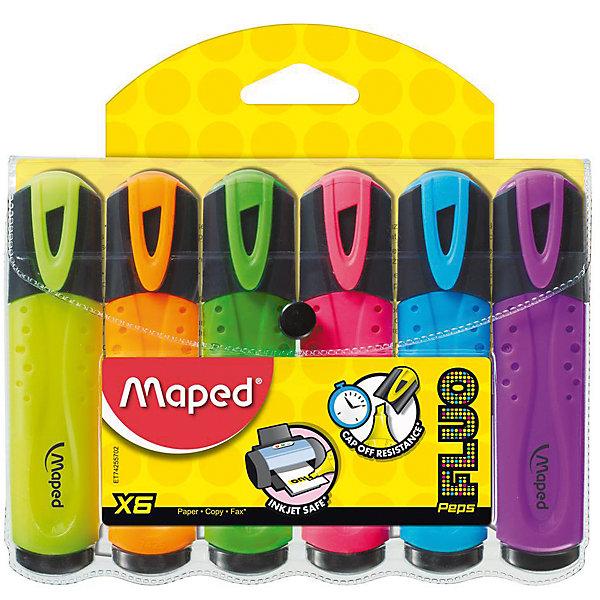 Набор маркеров FLUO PEPS, 6 цв.Письменные принадлежности<br>Набор маркеров FLUO PEPS, 6 цв. от марки Maped<br><br>Маркеры сделаны из приятного на ощупь материала, с яркими чернилами высокого качества. Поверхность корпуса препятствует скольжению пальцев и обеспечивает комфорт при письме. Чернила быстро высыхают на бумаге, не смазывая и не затемняя текст. Высокая светостойкость обеспечит четкость и яркость выделенного текста на годы. В наборе - 6 маркеров разных ярких цветов (желтый, зеленый, розовый, голубой, оранжевый, фиолетовый).<br><br>Особенности данной модели:<br><br>ширина оставляемого следа: 1-5 мм;<br>для всех типов бумаги;<br>цвет чернил: желтый, зеленый, розовый, голубой, оранжевый, фиолетовый.<br><br>Набор маркеров FLUO PEPS, 6 цв. от марки Maped можно купить в нашем магазине.<br>Ширина мм: 142; Глубина мм: 160; Высота мм: 16; Вес г: 125; Возраст от месяцев: 36; Возраст до месяцев: 2147483647; Пол: Унисекс; Возраст: Детский; SKU: 4684755;
