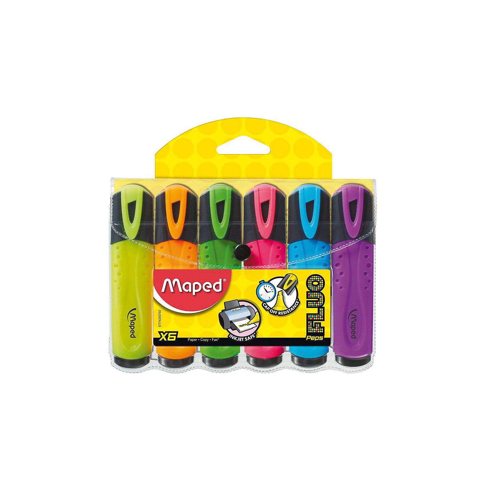 Набор маркеров FLUO PEPS, 6 цв.Письменные принадлежности<br>Набор маркеров FLUO PEPS, 6 цв. от марки Maped<br><br>Маркеры сделаны из приятного на ощупь материала, с яркими чернилами высокого качества. Поверхность корпуса препятствует скольжению пальцев и обеспечивает комфорт при письме. Чернила быстро высыхают на бумаге, не смазывая и не затемняя текст. Высокая светостойкость обеспечит четкость и яркость выделенного текста на годы. В наборе - 6 маркеров разных ярких цветов (желтый, зеленый, розовый, голубой, оранжевый, фиолетовый).<br><br>Особенности данной модели:<br><br>ширина оставляемого следа: 1-5 мм;<br>для всех типов бумаги;<br>цвет чернил: желтый, зеленый, розовый, голубой, оранжевый, фиолетовый.<br><br>Набор маркеров FLUO PEPS, 6 цв. от марки Maped можно купить в нашем магазине.<br><br>Ширина мм: 142<br>Глубина мм: 160<br>Высота мм: 16<br>Вес г: 125<br>Возраст от месяцев: 36<br>Возраст до месяцев: 2147483647<br>Пол: Унисекс<br>Возраст: Детский<br>SKU: 4684755