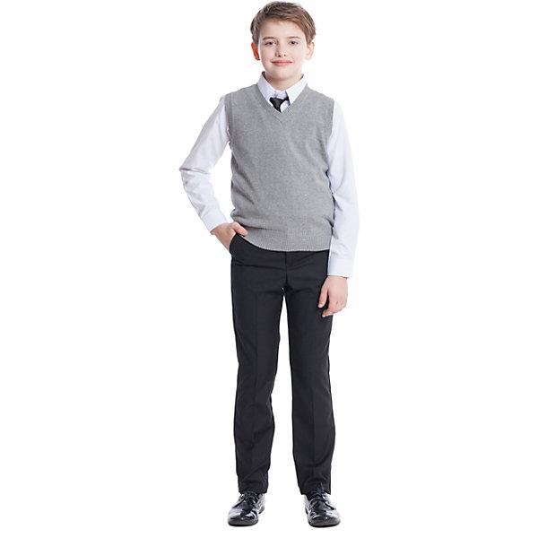Жилет для мальчика ScoolЖилеты<br>Жилет для мальчика от известного бренда Scool<br>Состав:<br>60% хлопок, 40% акрил<br>Классический серый жилет из вязаного трикотажа. Низ на широкой мягкой резинке, V-образный воротник. Хорошо смотрится и с рубашками, и с футболками.<br><br>Ширина мм: 190<br>Глубина мм: 74<br>Высота мм: 229<br>Вес г: 236<br>Цвет: серый<br>Возраст от месяцев: 108<br>Возраст до месяцев: 120<br>Пол: Мужской<br>Возраст: Детский<br>Размер: 140,164,122,128,134,146,152,158<br>SKU: 4686670