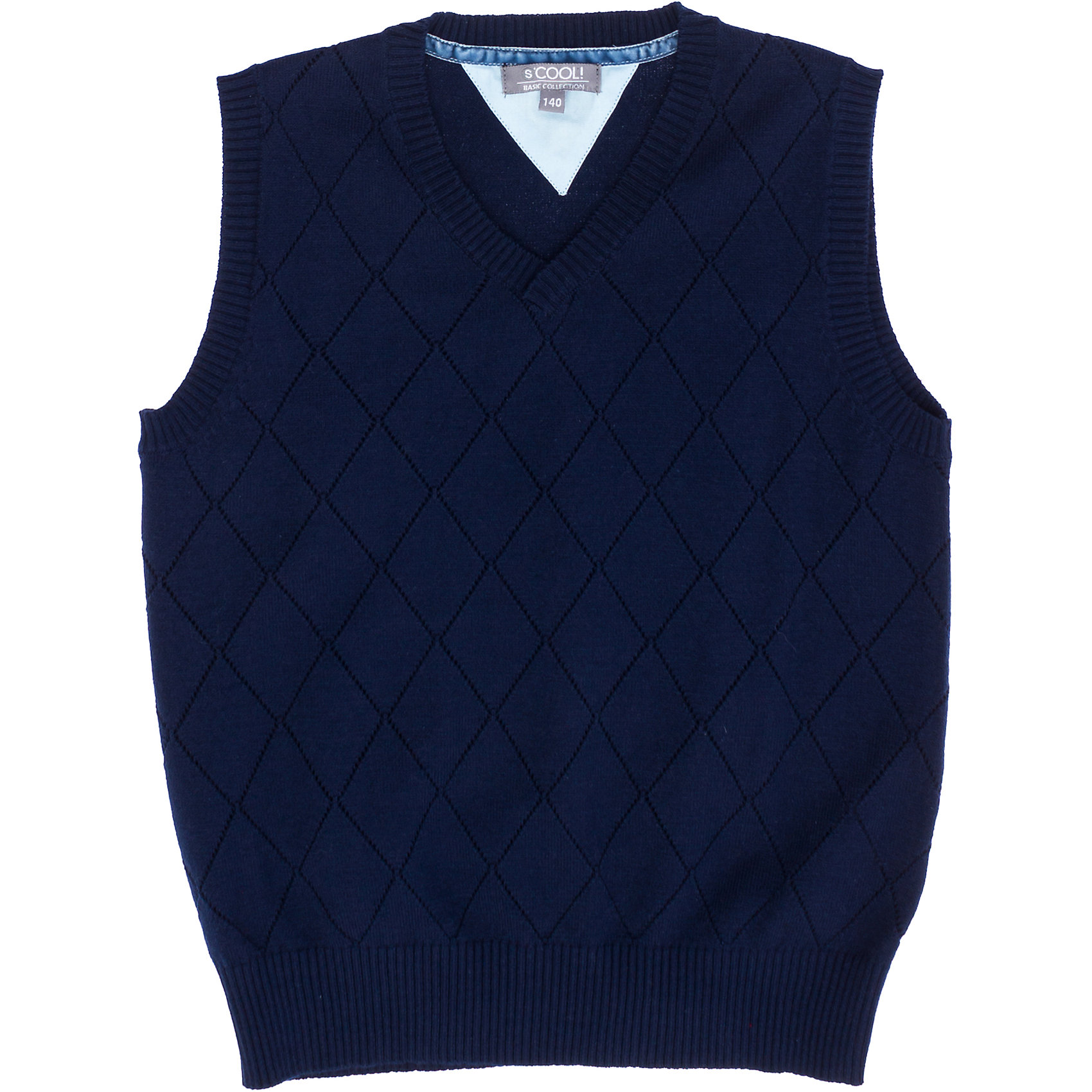 Жилет для мальчика ScoolЖилет для мальчика от известного бренда Scool<br>Состав:<br>60% хлопок, 40% акрил<br>Стильный темно-синий жилет с ажурной имитацией ромбов. Низ на мягкой резинке. Хорошо смотрится и с рубашками, и с футболками.<br><br>Ширина мм: 190<br>Глубина мм: 74<br>Высота мм: 229<br>Вес г: 236<br>Цвет: полуночно-синий<br>Возраст от месяцев: 72<br>Возраст до месяцев: 84<br>Пол: Мужской<br>Возраст: Детский<br>Размер: 122,140,164,128,152,134,146,158<br>SKU: 4686679