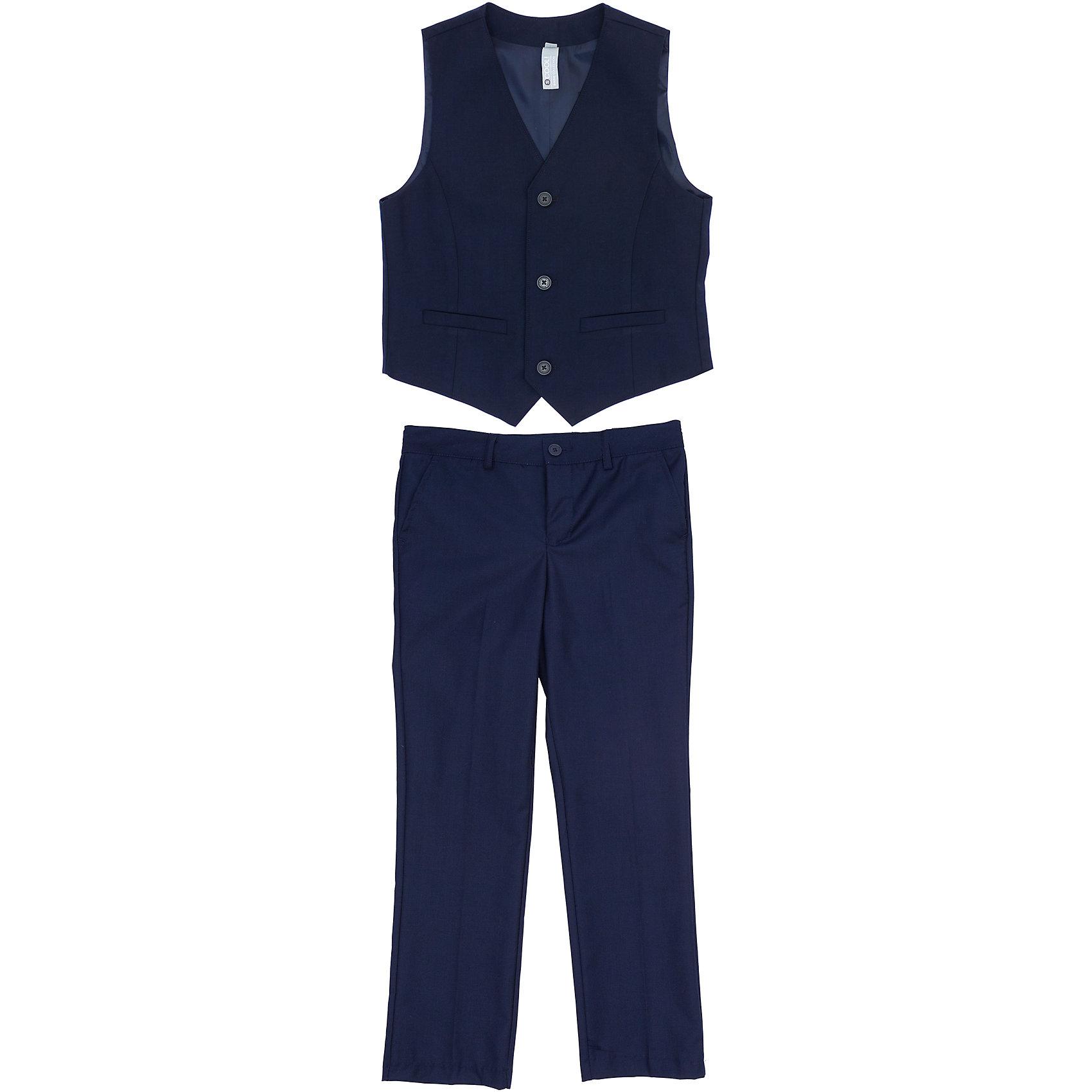 Комплект: жилет и брюки для мальчика ScoolКомплект: жилет и брюки для мальчика от известного бренда Scool<br>Состав:<br>Верх: 65% полиэстер, 35% вискоза, Подкладка: 65% полиэстер 35% вискоза<br>Классический комплект: жилет и брюки со стрелками. Стильный темно-синий цвет позволяет сочетать комплект с любыми рубашками. <br>Жилет на подкладке, застегивается на 3 пуговицы. Украшен декоративными карманами. <br>Брюки застегиваются на молнию и пуговицу, есть шлевки для ремня. Спереди 2 функциональных кармана.<br><br>Ширина мм: 247<br>Глубина мм: 16<br>Высота мм: 140<br>Вес г: 225<br>Цвет: полуночно-синий<br>Возраст от месяцев: 72<br>Возраст до месяцев: 84<br>Пол: Мужской<br>Возраст: Детский<br>Размер: 122,134,164,158,152,146,140,128<br>SKU: 4686715