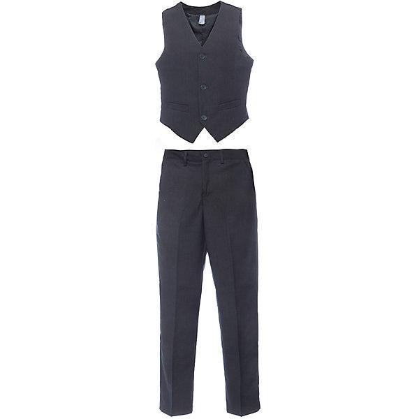 Комплект: жилет и брюки для мальчика ScoolКостюмы и пиджаки<br>Комплект: жилет и брюки для мальчика от известного бренда Scool<br>Состав:<br>Верх: 65% полиэстер, 35% вискоза, Подкладка: 65% полиэстер 35% вискоза<br>Классический комплект: жилет и брюки со стрелками. Стильный меланжевый цвет позволяет сочетать комплект с любыми рубашками. <br>Жилет на подкладке, застегивается на 3 пуговицы. Украшен декоративными карманами. <br>Брюки застегиваются на молнию и пуговицу, есть петельки для ремня. Спереди и сзади функциональные карманы.<br><br>Ширина мм: 247<br>Глубина мм: 16<br>Высота мм: 140<br>Вес г: 225<br>Цвет: серый<br>Возраст от месяцев: 108<br>Возраст до месяцев: 120<br>Пол: Мужской<br>Возраст: Детский<br>Размер: 140,134,122,128,146,152,158,164<br>SKU: 4686724