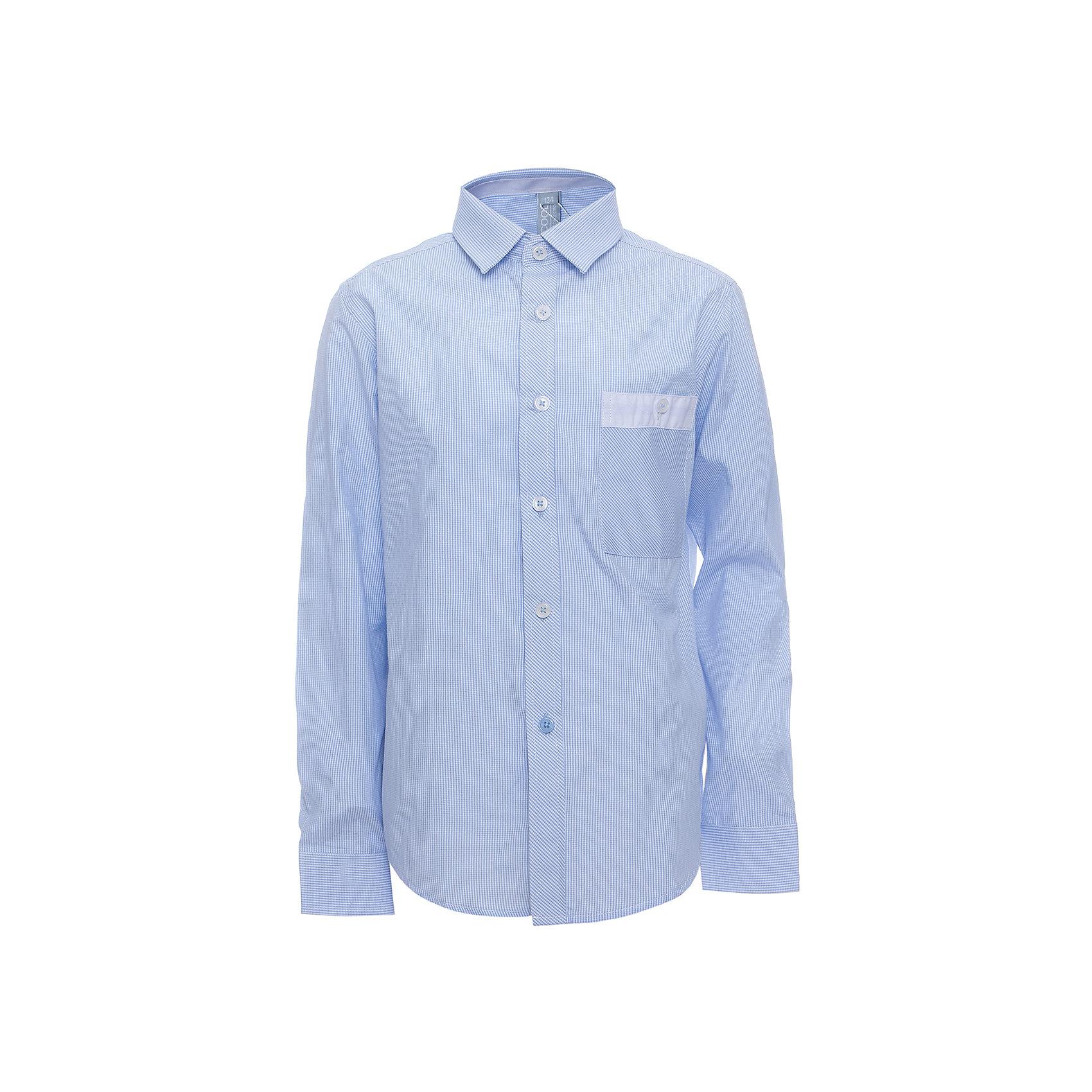 Рубашка для мальчика ScoolРубашка для мальчика от известного бренда Scool<br>Состав:<br>45% хлопок, 55% полиэстер<br>Классическая сорочка в мелкую голубую клетку. Застегивается на пуговицы. На груди кармашек. Контрастная белая отделка по планке, карману и на рукавах.<br><br>Ширина мм: 174<br>Глубина мм: 10<br>Высота мм: 169<br>Вес г: 157<br>Цвет: голубой<br>Возраст от месяцев: 156<br>Возраст до месяцев: 168<br>Пол: Мужской<br>Возраст: Детский<br>Размер: 164,122,140,158,152,146,134,128<br>SKU: 4686733