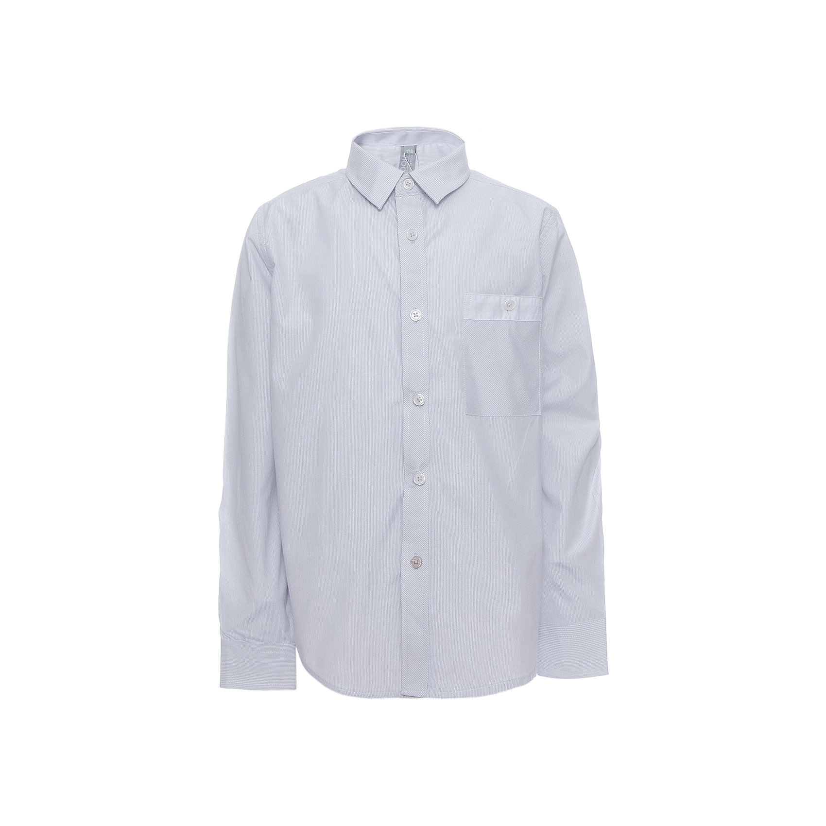 Рубашка для мальчика ScoolБлузки и рубашки<br>Рубашка для мальчика от известного бренда Scool<br>Состав:<br>45% хлопок, 55% полиэстер<br>Классическая светло-серая сорочка в мелкую полоску. Застегивается на пуговицы. На груди кармашек. Контрастная белая отделка по планке, карману и на рукавах.<br><br>Ширина мм: 174<br>Глубина мм: 10<br>Высота мм: 169<br>Вес г: 157<br>Цвет: голубой<br>Возраст от месяцев: 120<br>Возраст до месяцев: 132<br>Пол: Мужской<br>Возраст: Детский<br>Размер: 146,140,122,128,134,158,164,152<br>SKU: 4686742