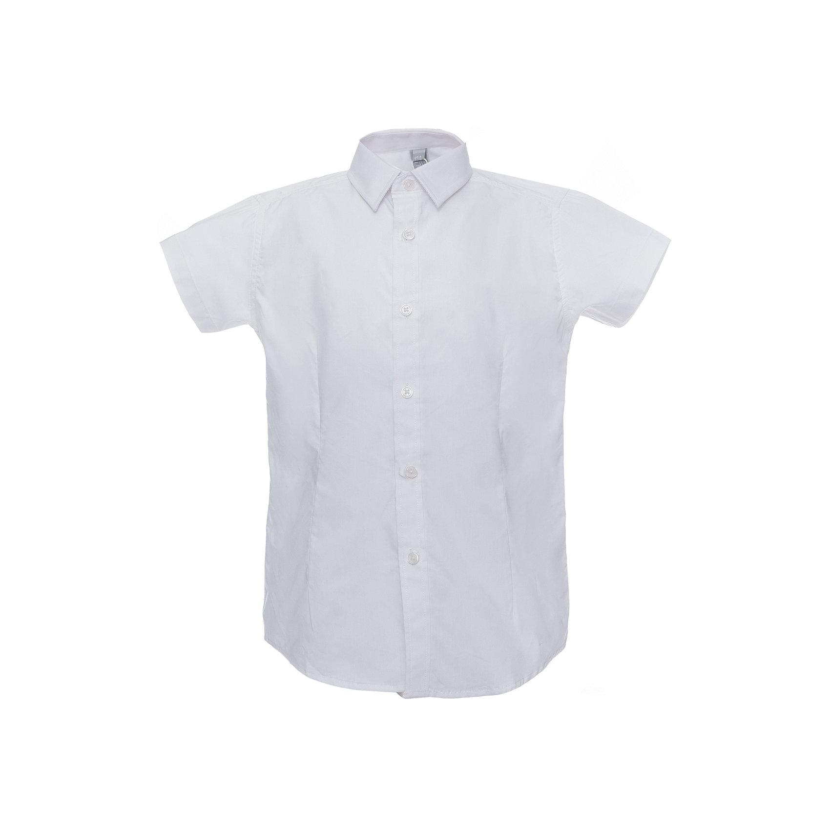 Рубашка для мальчика ScoolБлузки и рубашки<br>Рубашка для мальчика от известного бренда Scool<br>Состав:<br>60% хлопок, 37% полиэстер, 3% эластан<br>Стильная белая сорочка. Короткие рукава, удобно застегивается на пуговицы. Модный зауженный силуэт благодаря вытачкам спереди и сзади.<br><br>Ширина мм: 174<br>Глубина мм: 10<br>Высота мм: 169<br>Вес г: 157<br>Цвет: белый<br>Возраст от месяцев: 108<br>Возраст до месяцев: 120<br>Пол: Мужской<br>Возраст: Детский<br>Размер: 164,158,128,134,146,152,122,140<br>SKU: 4686751