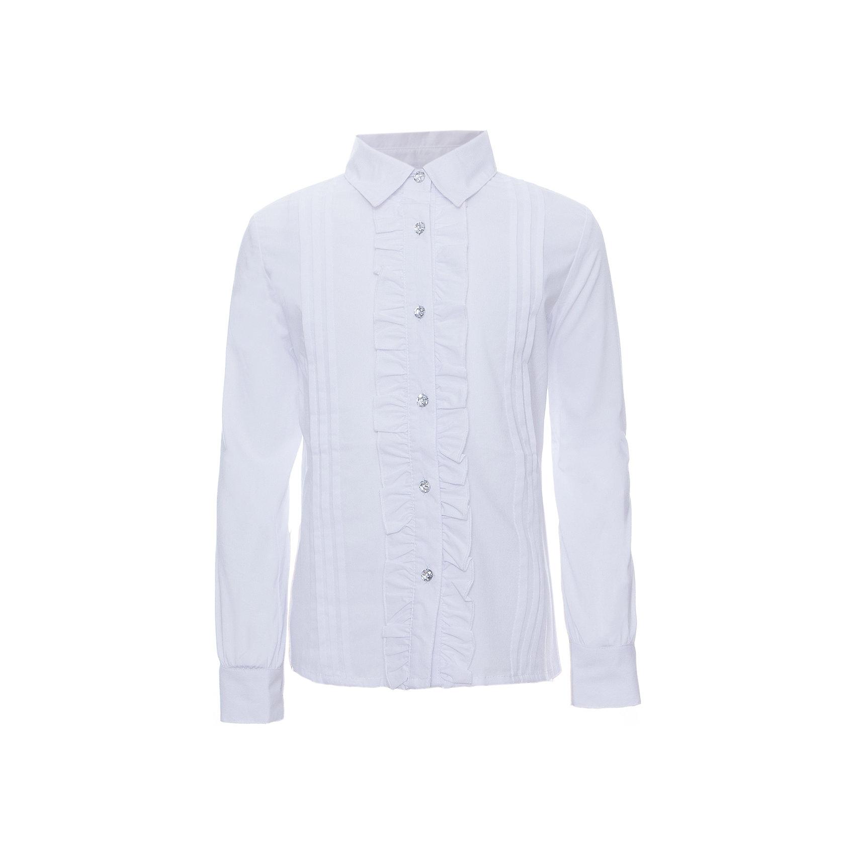 Блузка для девочки ScoolБлузки и рубашки<br>Блузка для девочки от известного бренда Scool<br>Состав:<br>65% хлопок, 32% полиэстер, 3% эластан<br>Нежная женственная блузка. Застегивается на прозрачные сверкающие пуговицы, планка украшена рюшами.<br><br>Ширина мм: 186<br>Глубина мм: 87<br>Высота мм: 198<br>Вес г: 197<br>Цвет: белый<br>Возраст от месяцев: 72<br>Возраст до месяцев: 84<br>Пол: Женский<br>Возраст: Детский<br>Размер: 122,128,146,158,164,152,140,134<br>SKU: 4686957