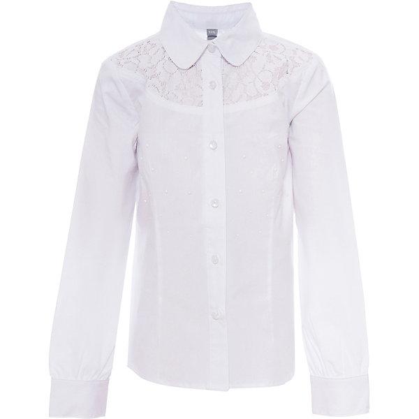 Блузка для девочки ScoolБлузки и рубашки<br>Блузка для девочки от известного бренда Scool<br>Состав:<br>65% хлопок, 32% полиэстер, 3% эластан<br>Нежная женственная блузка, будто из романа о Джейн Эйр. Кокетка из ажурного кружева. Украшена белыми металлизированными стразами. Застегивается на перламутровые пуговки-капельки.<br><br>Ширина мм: 186<br>Глубина мм: 87<br>Высота мм: 198<br>Вес г: 197<br>Цвет: белый<br>Возраст от месяцев: 84<br>Возраст до месяцев: 96<br>Пол: Женский<br>Возраст: Детский<br>Размер: 128,164,158,146,140,134,152,122<br>SKU: 4686966