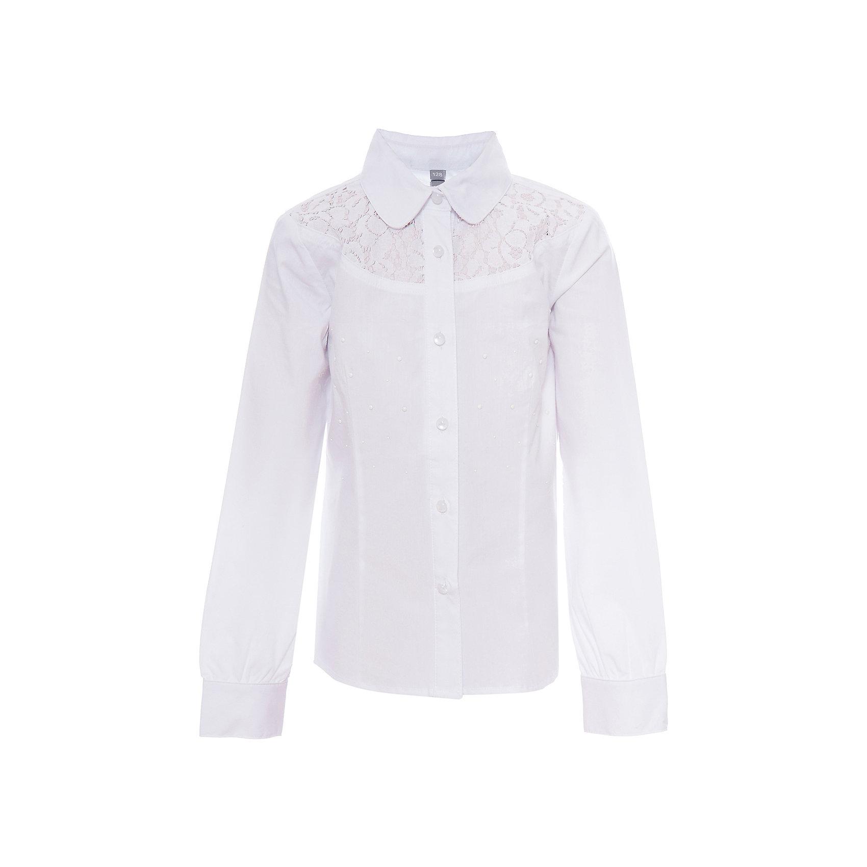 Блузка для девочки ScoolБлузки и рубашки<br>Блузка для девочки от известного бренда Scool<br>Состав:<br>65% хлопок, 32% полиэстер, 3% эластан<br>Нежная женственная блузка, будто из романа о Джейн Эйр. Кокетка из ажурного кружева. Украшена белыми металлизированными стразами. Застегивается на перламутровые пуговки-капельки.<br><br>Ширина мм: 186<br>Глубина мм: 87<br>Высота мм: 198<br>Вес г: 197<br>Цвет: белый<br>Возраст от месяцев: 72<br>Возраст до месяцев: 84<br>Пол: Женский<br>Возраст: Детский<br>Размер: 122,128,164,158,146,140,134,152<br>SKU: 4686966