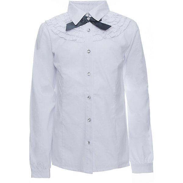 Блузка для девочки ScoolБлузки и рубашки<br>Блузка для девочки от известного бренда Scool<br>Состав:<br>65% хлопок, 32% полиэстер, 3% эластан<br>Стильная и женственная белая блузка. Застегивается на сверкающие прозрачные пуговицы. Украшена нежными рюшами и атласным бантиком темно-синего цвета под воротником.<br>Ширина мм: 186; Глубина мм: 87; Высота мм: 198; Вес г: 197; Цвет: белый; Возраст от месяцев: 120; Возраст до месяцев: 132; Пол: Женский; Возраст: Детский; Размер: 146,152,122,128,134,140,158,164; SKU: 4686975;