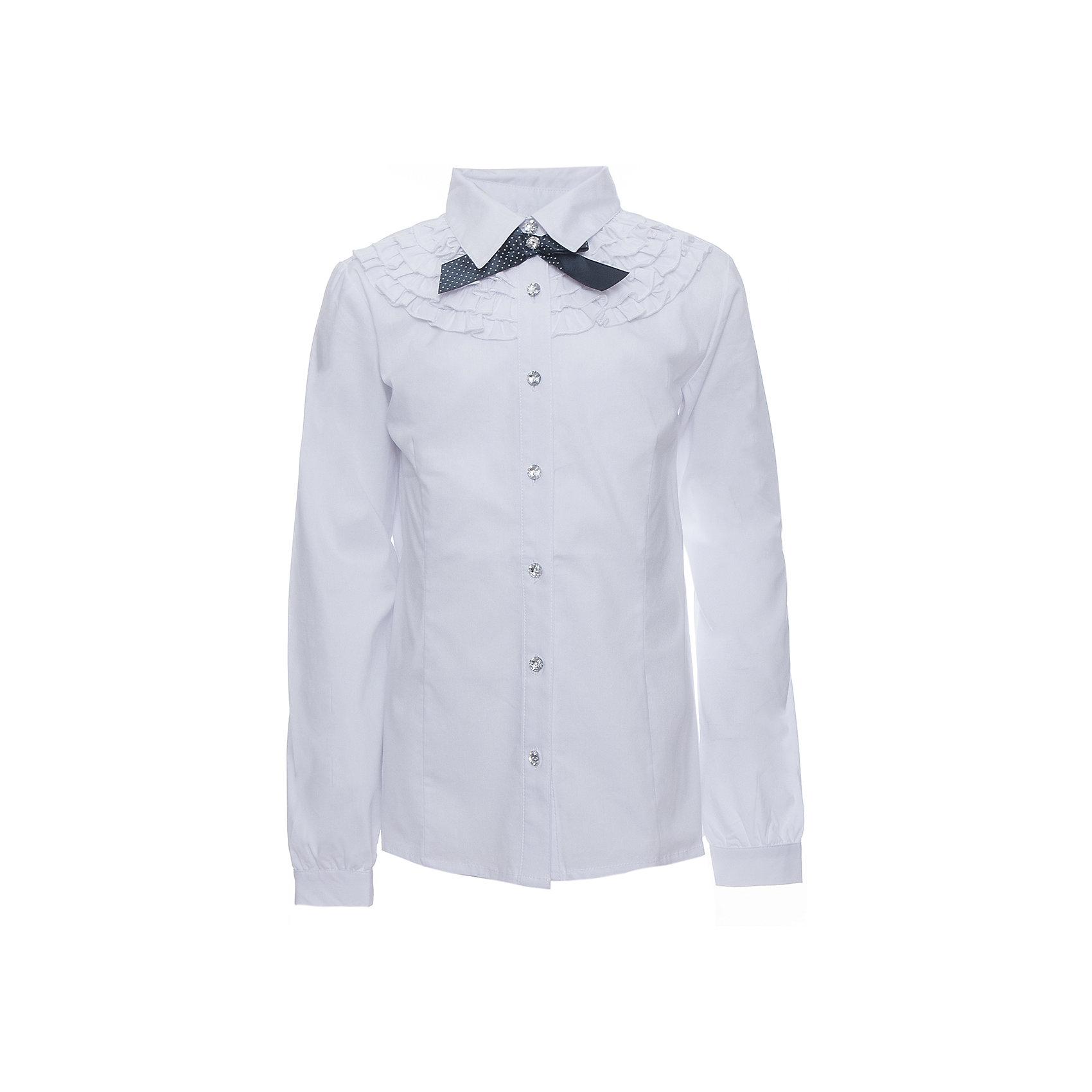 Блузка для девочки ScoolБлузки и рубашки<br>Блузка для девочки от известного бренда Scool<br>Состав:<br>65% хлопок, 32% полиэстер, 3% эластан<br>Стильная и женственная белая блузка. Застегивается на сверкающие прозрачные пуговицы. Украшена нежными рюшами и атласным бантиком темно-синего цвета под воротником.<br><br>Ширина мм: 186<br>Глубина мм: 87<br>Высота мм: 198<br>Вес г: 197<br>Цвет: белый<br>Возраст от месяцев: 72<br>Возраст до месяцев: 84<br>Пол: Женский<br>Возраст: Детский<br>Размер: 122,152,164,158,146,140,134,128<br>SKU: 4686975
