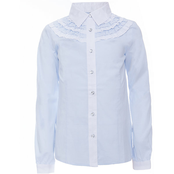 Блузка для девочки ScoolБлузки и рубашки<br>Блузка для девочки от известного бренда Scool<br>Состав:<br>65% хлопок, 32% полиэстер, 3% эластан<br>Стильная и женственная голубая блузка. Застегивается на сверкающие прозрачные пуговицы. Передняя планка и воротник контрастного белого цвета. Украшена нежными кокетками под воротником.<br>Ширина мм: 186; Глубина мм: 87; Высота мм: 198; Вес г: 197; Цвет: белый; Возраст от месяцев: 144; Возраст до месяцев: 156; Пол: Женский; Возраст: Детский; Размер: 158,122,128,140,146,164,152,134; SKU: 4686984;