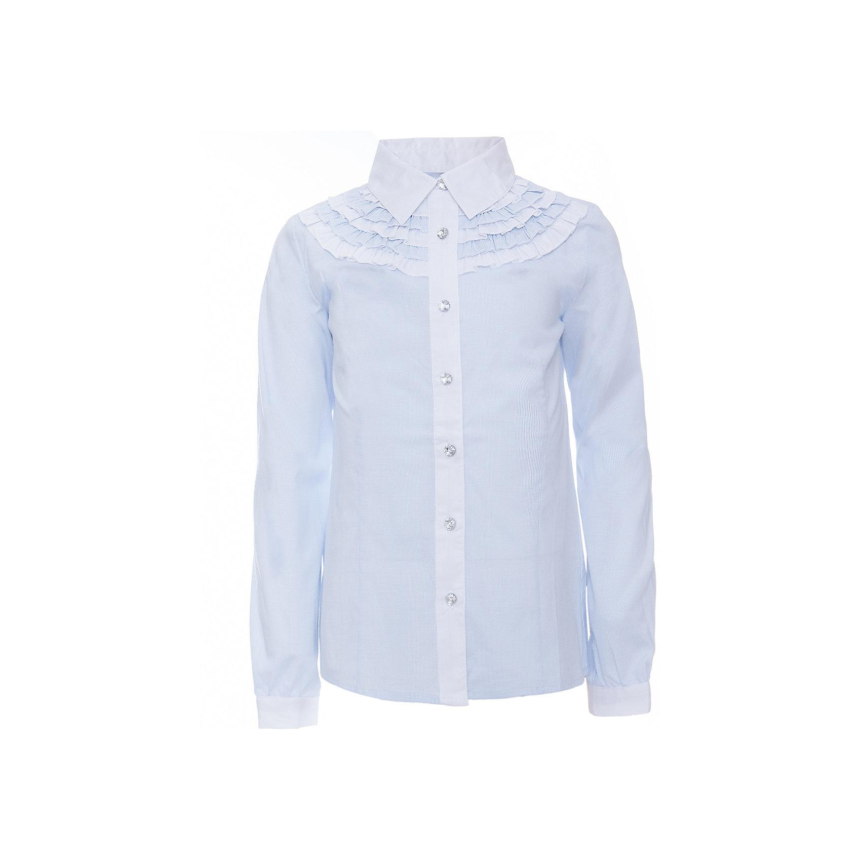 Блузка для девочки ScoolБлузки и рубашки<br>Блузка для девочки от известного бренда Scool<br>Состав:<br>65% хлопок, 32% полиэстер, 3% эластан<br>Стильная и женственная голубая блузка. Застегивается на сверкающие прозрачные пуговицы. Передняя планка и воротник контрастного белого цвета. Украшена нежными кокетками под воротником.<br><br>Ширина мм: 186<br>Глубина мм: 87<br>Высота мм: 198<br>Вес г: 197<br>Цвет: белый<br>Возраст от месяцев: 72<br>Возраст до месяцев: 84<br>Пол: Женский<br>Возраст: Детский<br>Размер: 122,158,134,152,164,146,140,128<br>SKU: 4686984