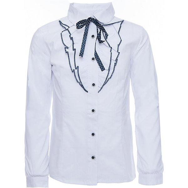 Блузка для девочки ScoolБлузки и рубашки<br>Блузка для девочки от известного бренда Scool<br>Состав:<br>65% хлопок, 32% полиэстер, 3% эластан<br>Стильная и женственная белая блузка. Застегивается на пуговицы. Украшена кокетливыми рюшами вдоль застежки и атласной темно-синей тесьмой в белый горошек под воротником.<br><br>Ширина мм: 186<br>Глубина мм: 87<br>Высота мм: 198<br>Вес г: 197<br>Цвет: белый<br>Возраст от месяцев: 84<br>Возраст до месяцев: 96<br>Пол: Женский<br>Возраст: Детский<br>Размер: 128,122,134,140,158,164,152,146<br>SKU: 4686993