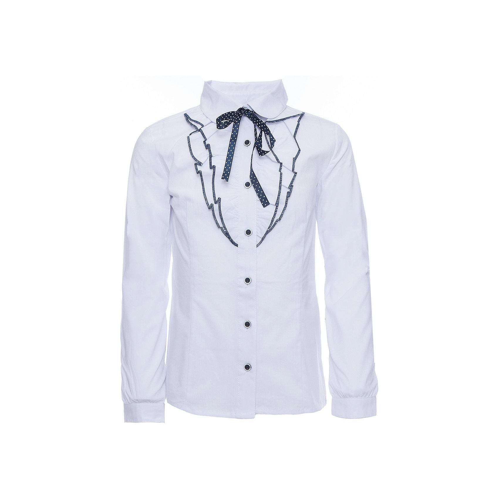 Блузка для девочки ScoolБлузки и рубашки<br>Блузка для девочки от известного бренда Scool<br>Состав:<br>65% хлопок, 32% полиэстер, 3% эластан<br>Стильная и женственная белая блузка. Застегивается на пуговицы. Украшена кокетливыми рюшами вдоль застежки и атласной темно-синей тесьмой в белый горошек под воротником.<br><br>Ширина мм: 186<br>Глубина мм: 87<br>Высота мм: 198<br>Вес г: 197<br>Цвет: белый<br>Возраст от месяцев: 108<br>Возраст до месяцев: 120<br>Пол: Женский<br>Возраст: Детский<br>Размер: 140,134,122,128,146,152,164,158<br>SKU: 4686993