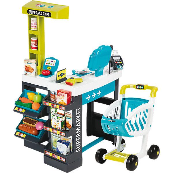 Магазин супермаркет с тележкой, со звуком, синий, SmobyДетский супермаркет<br>Характеристики:<br><br>• в комплекте: кассовый аппарат, сканер, весы, считывающее устройство, полки, товары, тележка, деньги, банковская карта, аксессуары;<br>• световые и звуковые эффекты;<br>• материал: пластик;<br>• размер супермаркета: 45,8х53,8х86,5 см;<br>• батарейки: АА - 3 шт. (входят в комплект);<br>• размер упаковки: 49,5х23,5х69,5 см;<br>• вес: 4,1 кг;<br>• страна производитель: Франция.<br><br>Игрушечный супермаркет - прекрасный вариант для сюжетно-ролевых игр. Супермаркет имеет реалистичный вид, звуки, похожие на настоящие и множество полезных функций. Дети научатся считать, обращаться со сканером и считывающим устройством и поймут, как устроена работа супермаркетов. <br><br>Сканер оснащен световым индикатором и звуковыми эффектами. При приближении товара сканер воспроизводит соответствующий звуковой сигнал. Кассовый аппарат имеет множество функциональных кнопок. Дисплей кассового аппарата отображает сумму покупок.<br><br>Оплатить покупки в супермаркете можно наличными и банковской картой. Специальное считывающее устройство проводит оплату и выдает покупателю чек. Тележка имеет широкие колеса и ручку, удобную для детей. Покупатель сможет сложить в тележку все необходимые товары или любимые игрушки.<br><br>Полочки супермаркета выглядят очень реалистично. На них продавец сможет сложить муляжи товаров, входящие в комплект. Ассортимент супермаркета можно пополнить из своей коллекции игрушек.<br><br>Магазин супермаркет с тележкой, со звуком, синий, Smoby (Смоби) можно купить в нашем интернет-магазине.<br>Ширина мм: 690; Глубина мм: 495; Высота мм: 240; Вес г: 4574; Возраст от месяцев: 36; Возраст до месяцев: 2147483647; Пол: Унисекс; Возраст: Детский; SKU: 4687388;